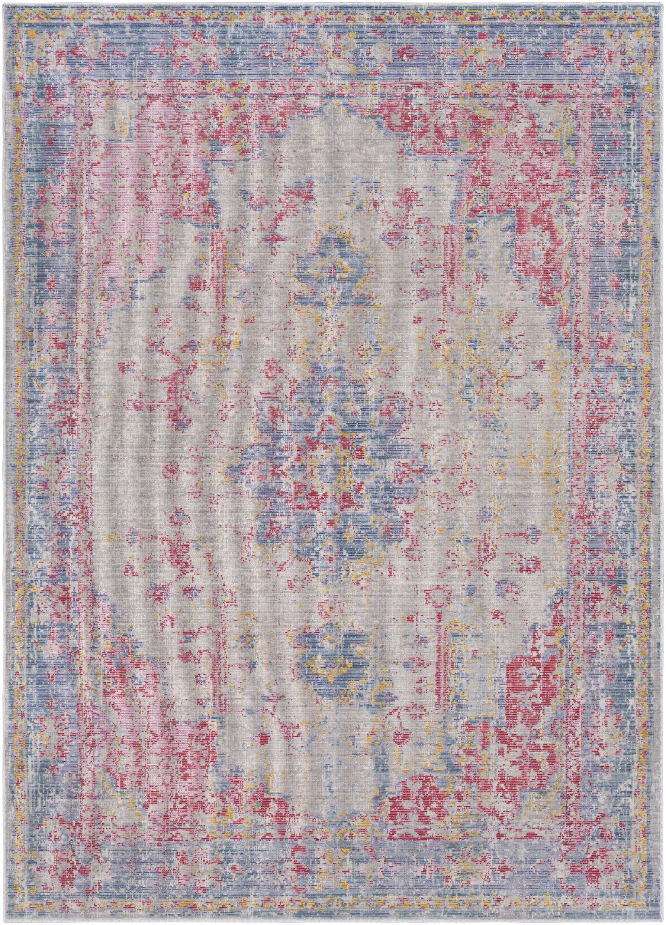 Kahina Vintage Distressed Oriental Pink/Blue Area Rug Rug Size: Rectangle 5'3