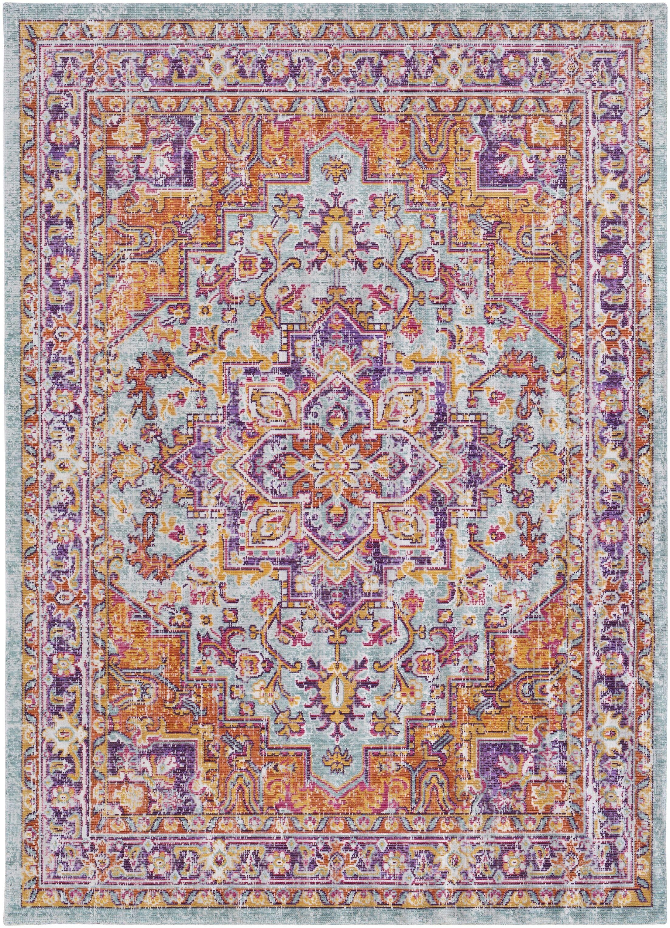 Kahina Vintage Distressed Oriental Purple/Orange Area Rug Rug Size: Runner 3' x 7'