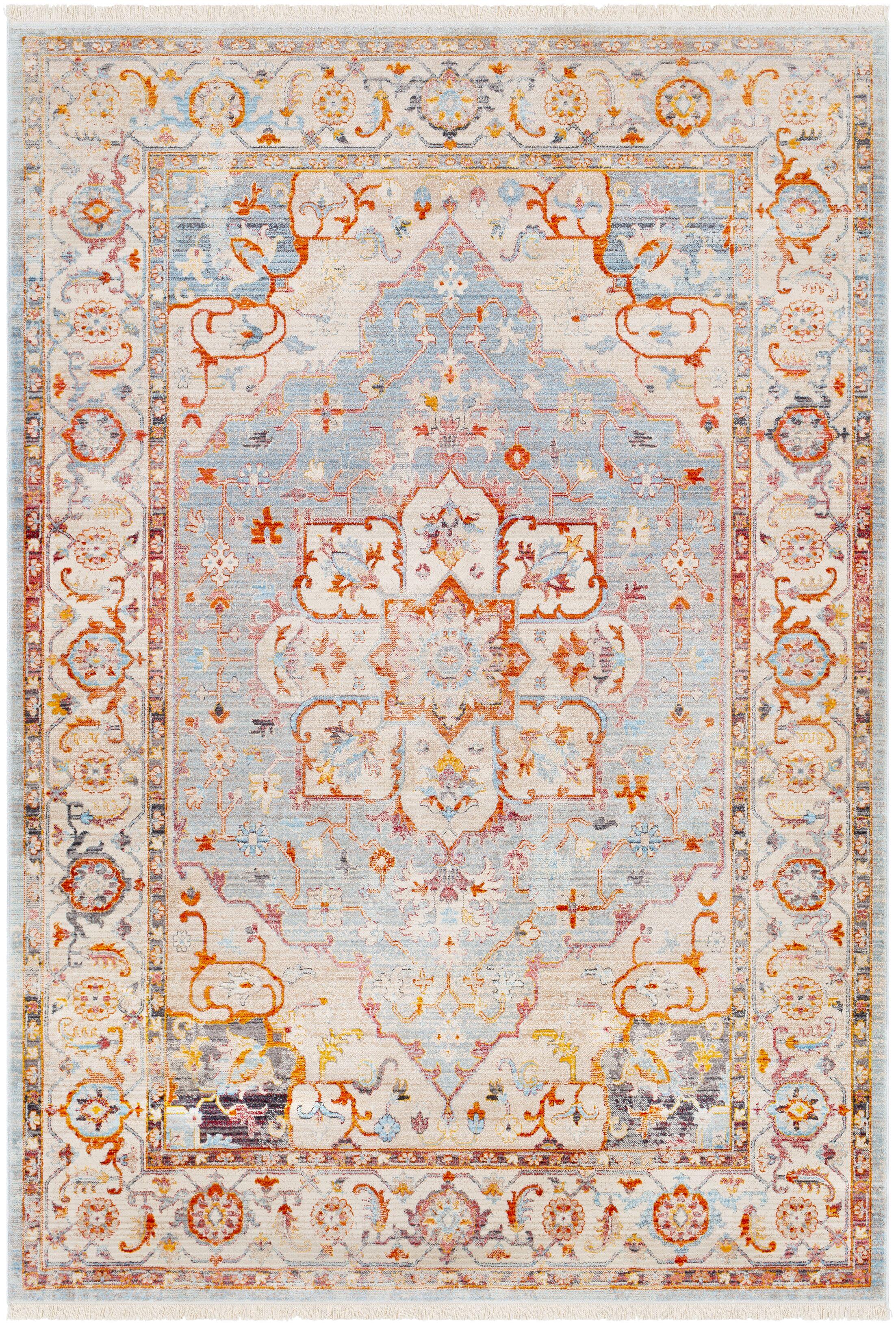 Mendelsohn Vintage Persian Traditional Blue/Beige Area Rug Rug Size: Rectangle 5' x 7'9