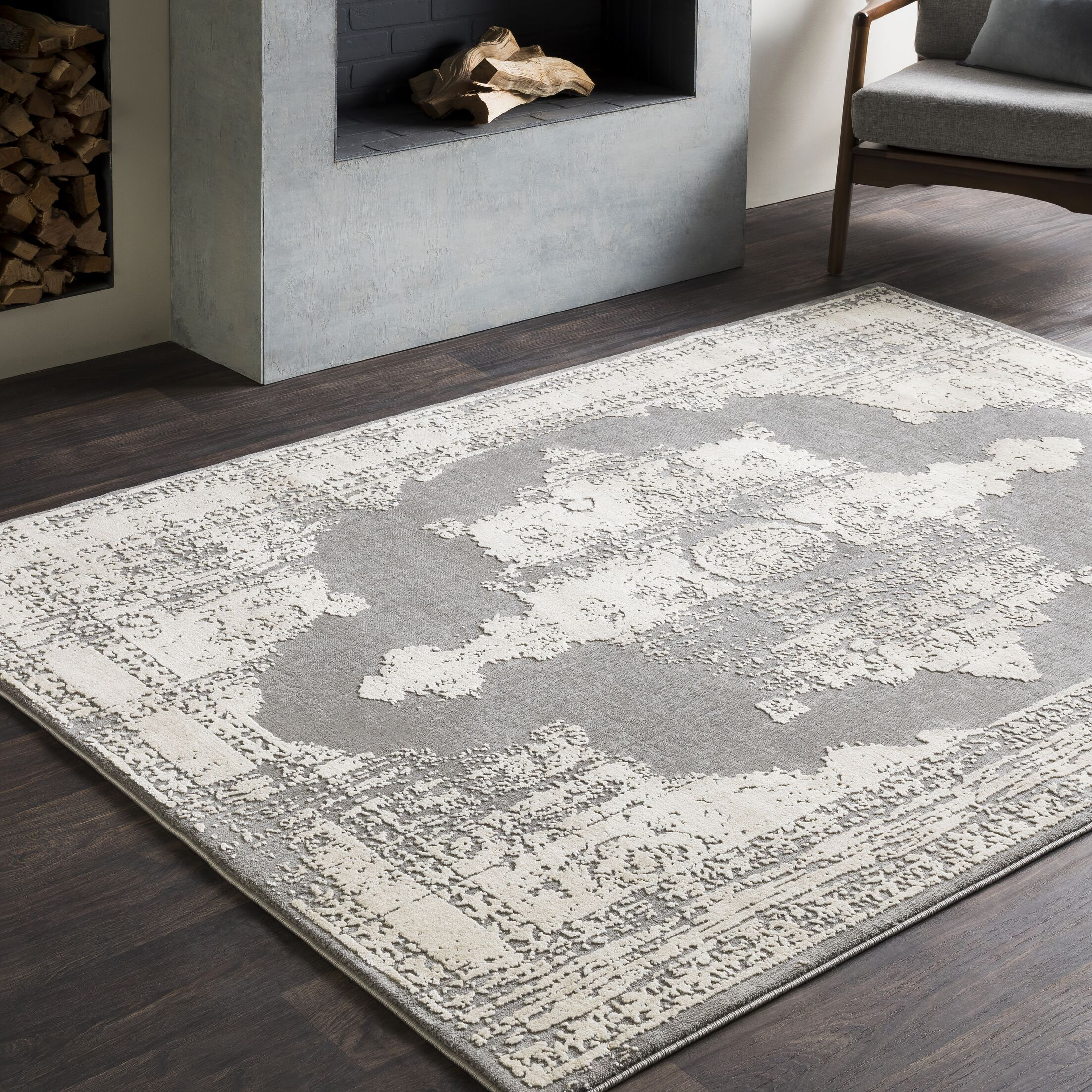 Tilleul Distressed Persian Medallion Gray Area Rug Rug Size: Rectangle 9'3