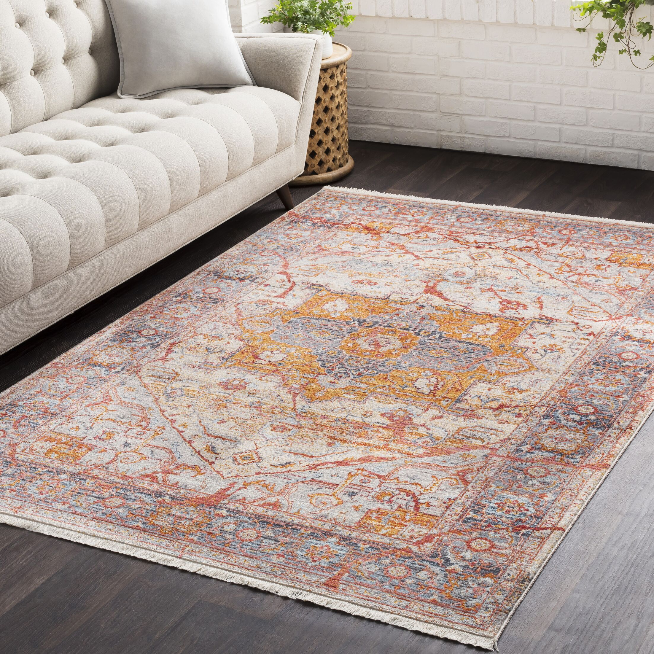Mendelsohn Oriental Vintage Persian Traditional Red/Orange Area Rug Rug Size: Rectangle 3'11