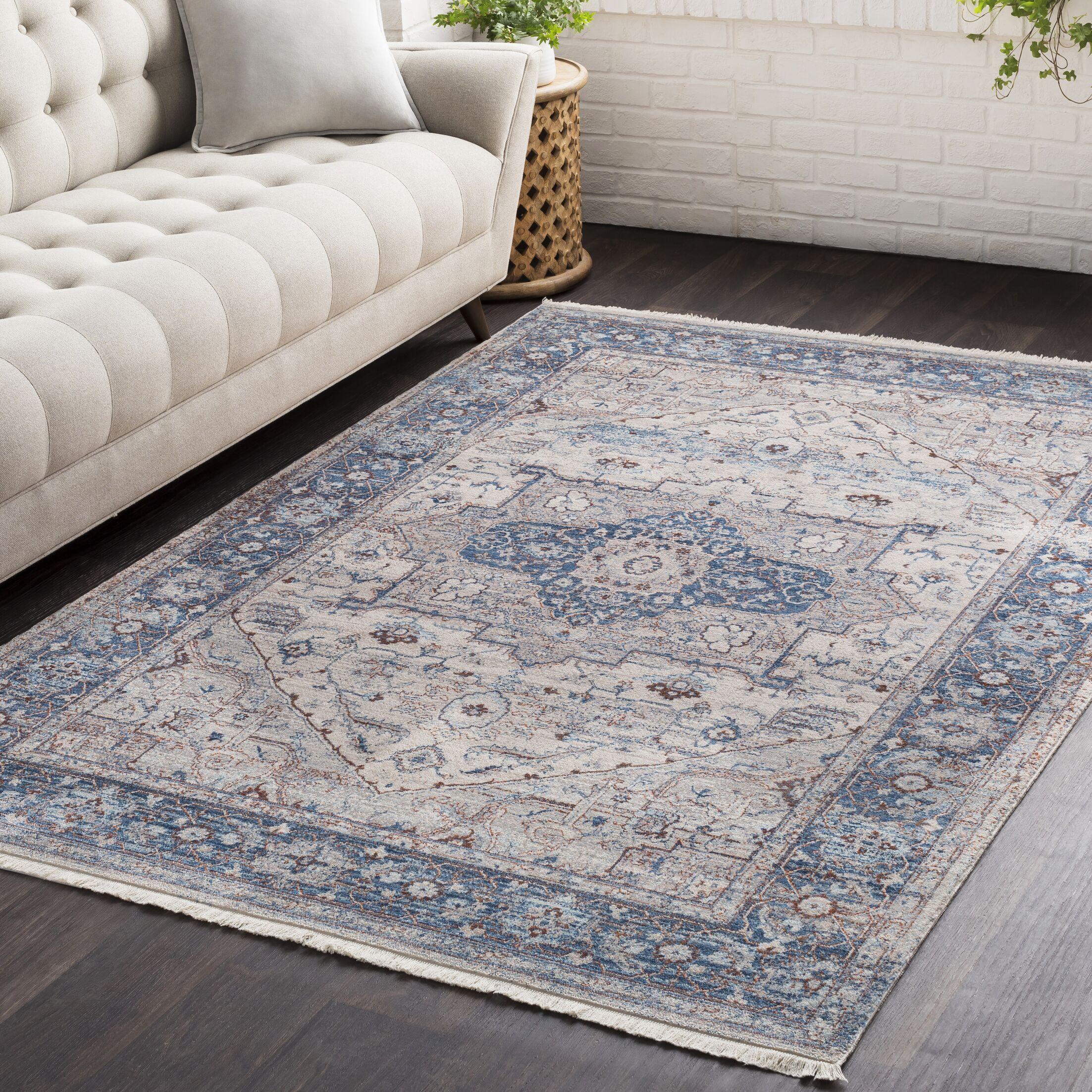 Mendelsohn Oriental Vintage Persian Traditional Blue/Cream Area Rug Rug Size: Rectangle 5' x 7'9