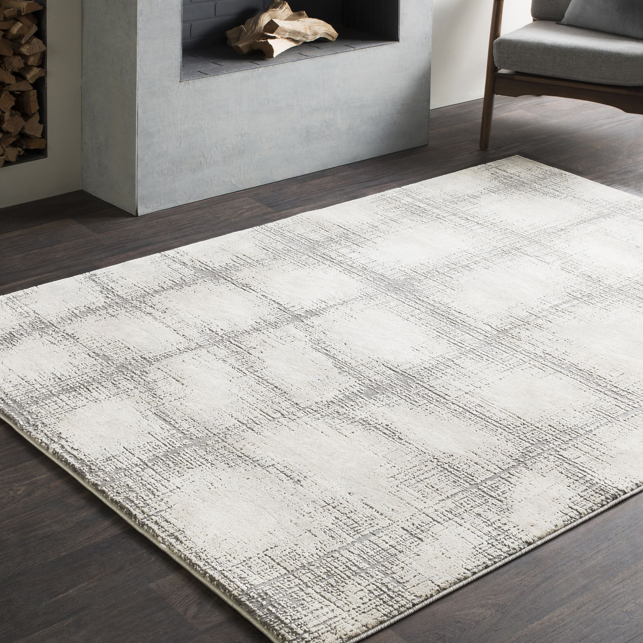 Bridgeton Distressed Modern Abstract Gray/Cream Area Rug Rug Size: Rectangle 7'10