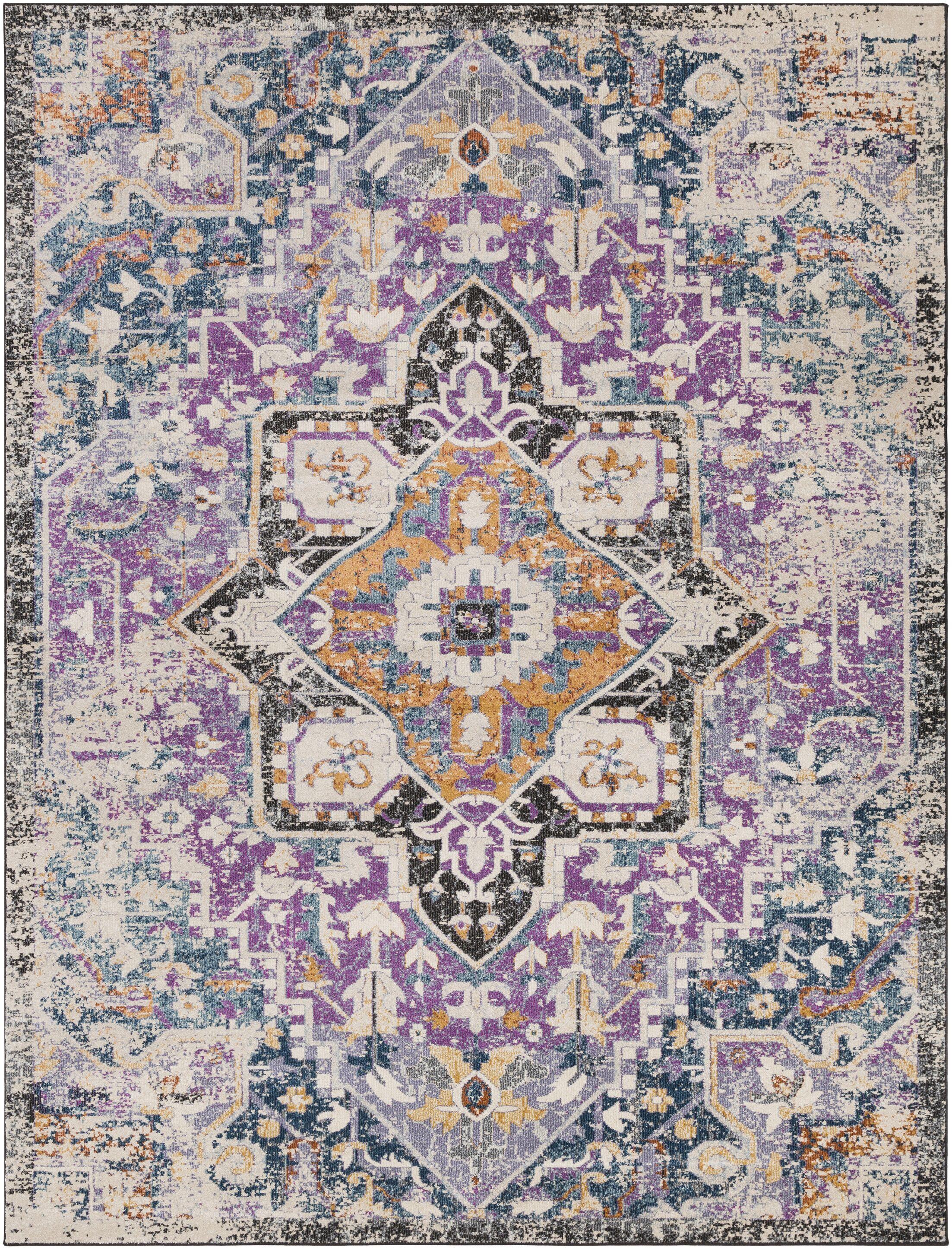 Fonteyne Purple/Teal Area Rug Rug Size: Rectangle 7'10