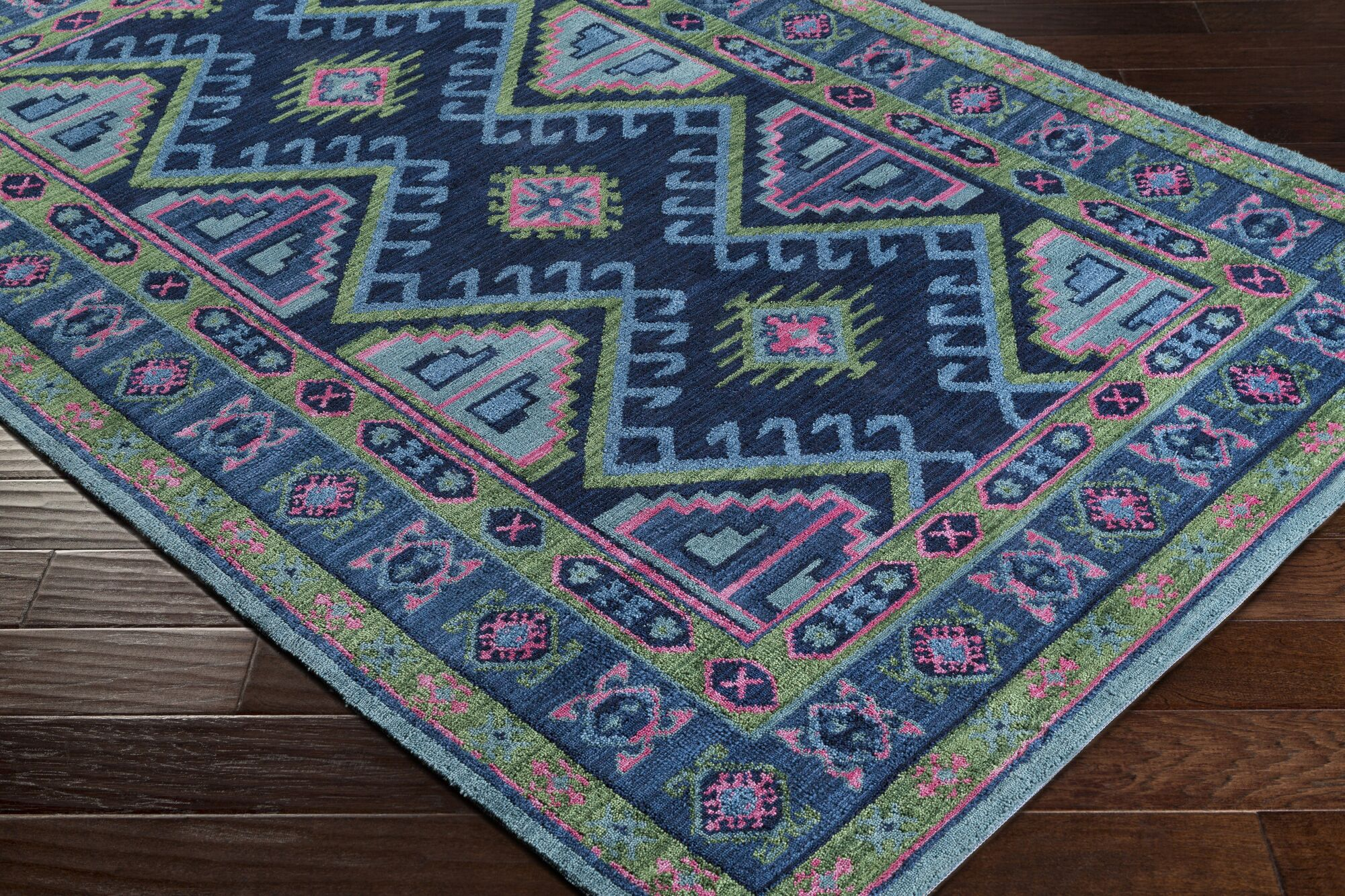 Robbins Navy/Olive Area Rug Rug Size: Rectangle 5' x 7'6