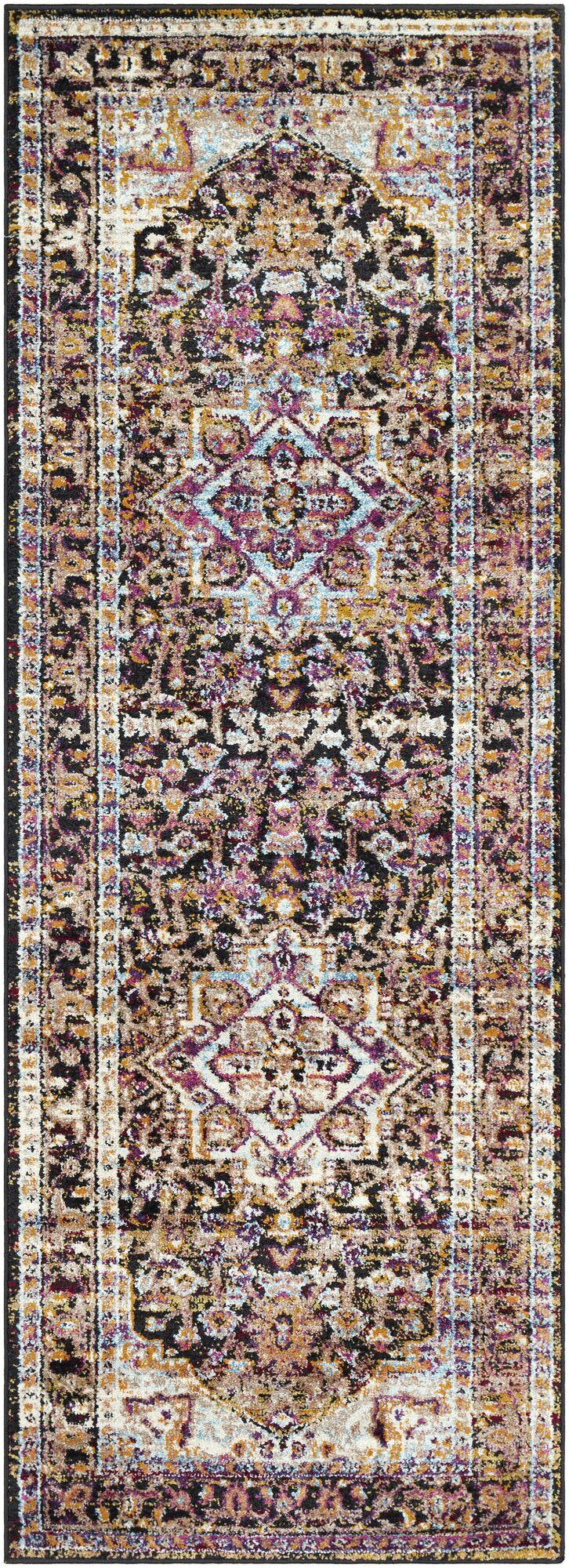 Walferdange Transitional Bright Pink/Blue/Yellow Area Rug Rug Size: Rectangle 5' x 7'3