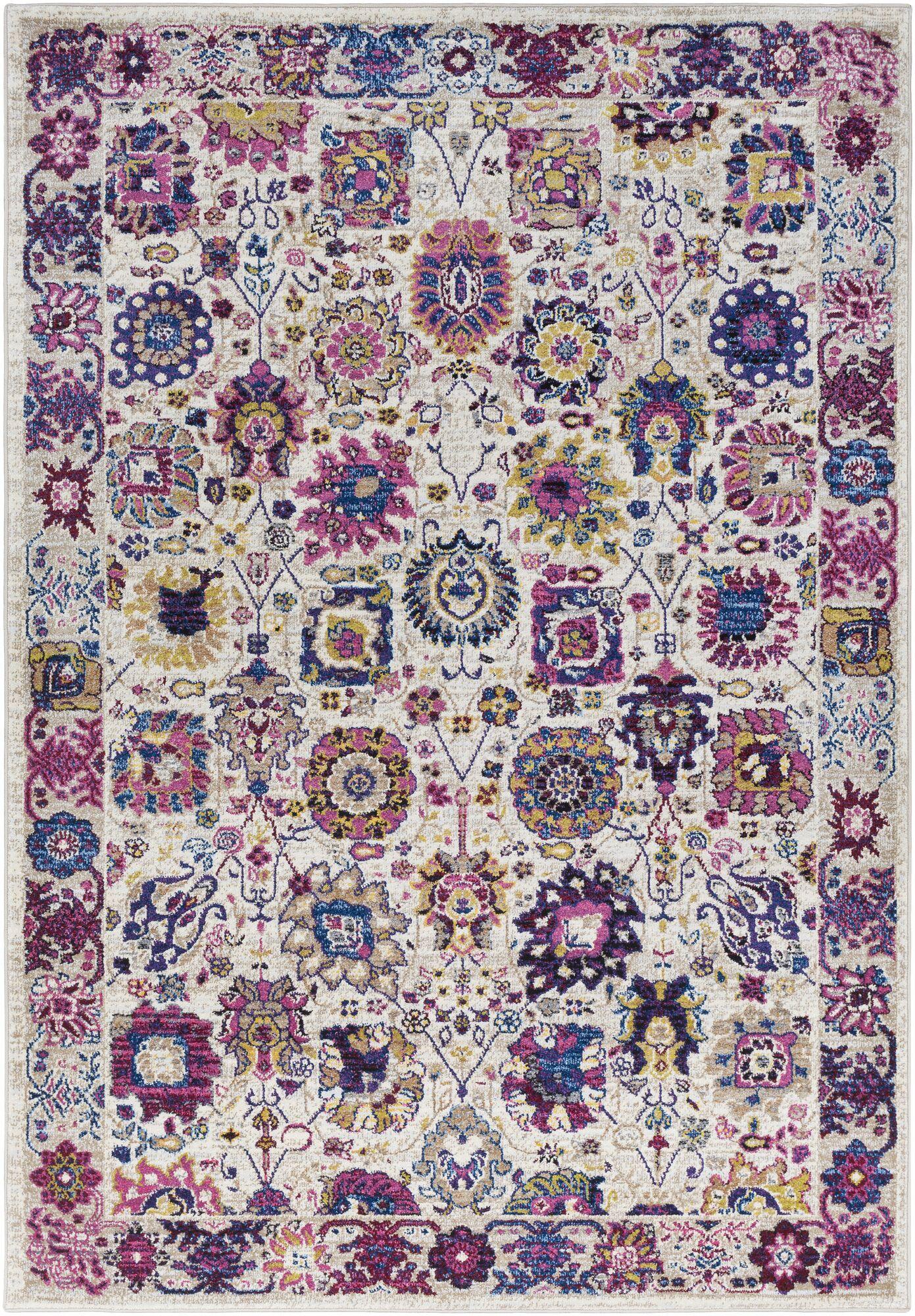 Walferdange Floral Bright Pink/Blue Area Rug Rug Size: Rectangle 5' x 7'3