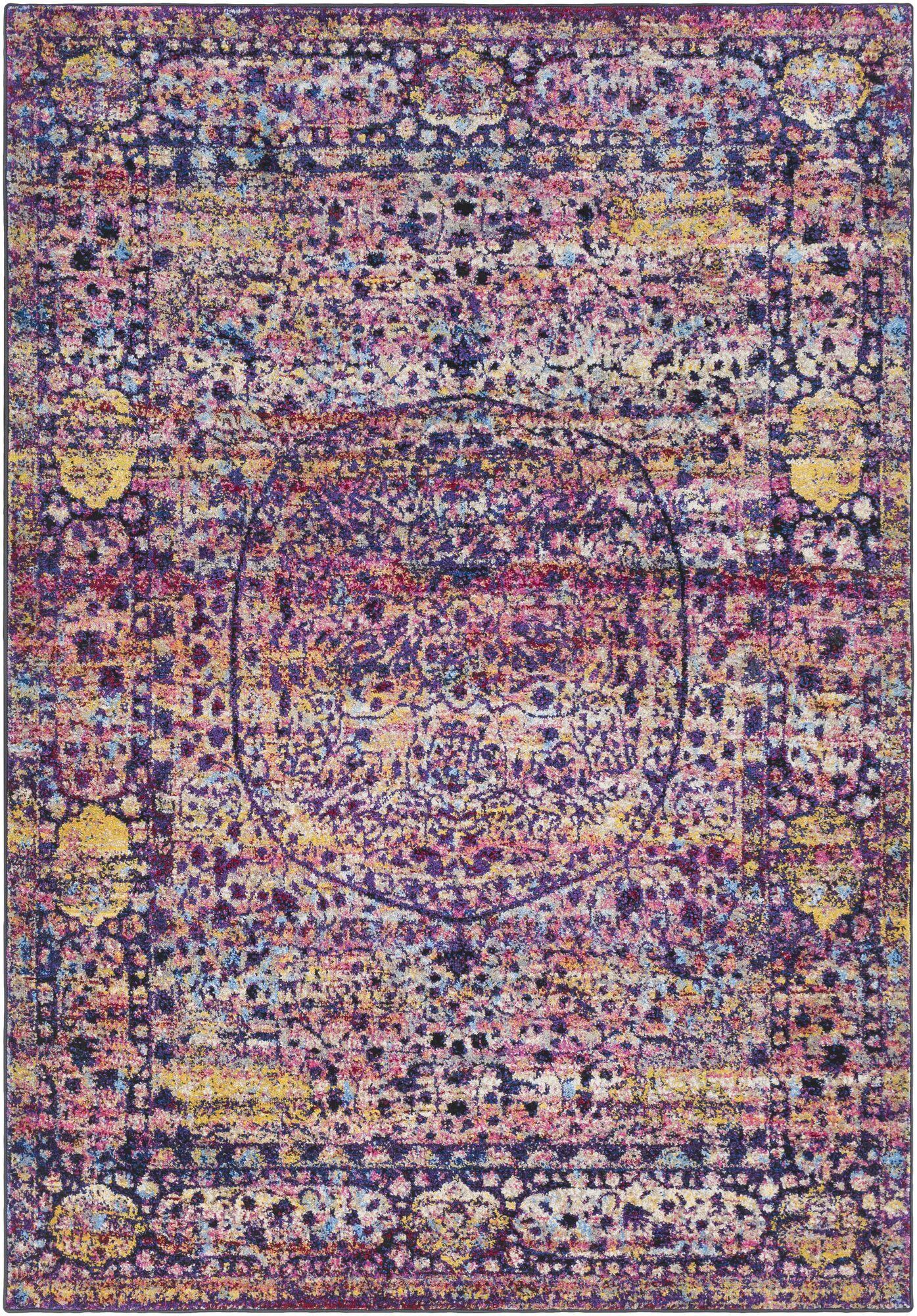 Walferdange Floral Bright Pink/Violet Area Rug Rug Size: Rectangle 9'3