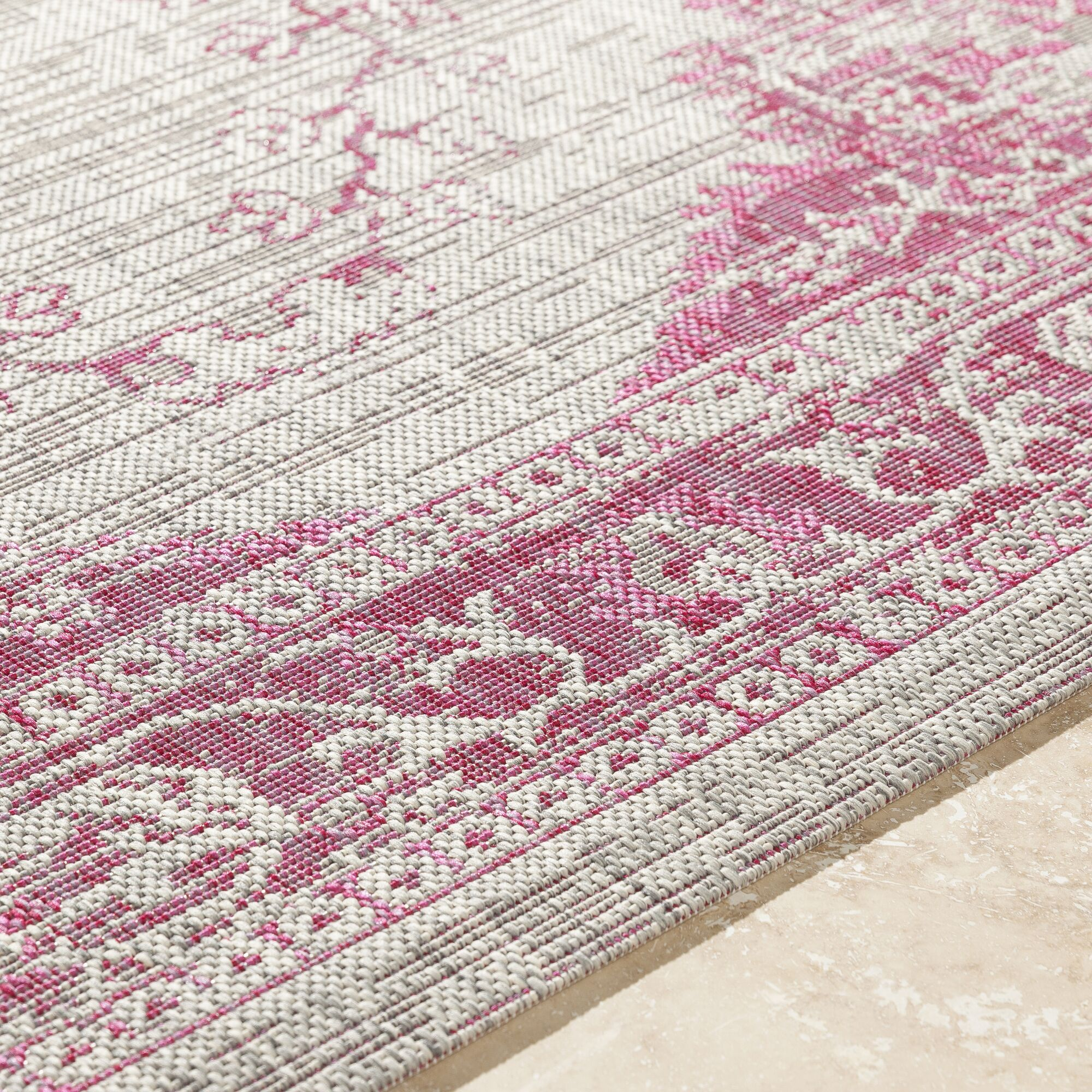 Laurine Floral and Plants Bright Pink Indoor/Outdoor Area Rug Rug Size: 5'3
