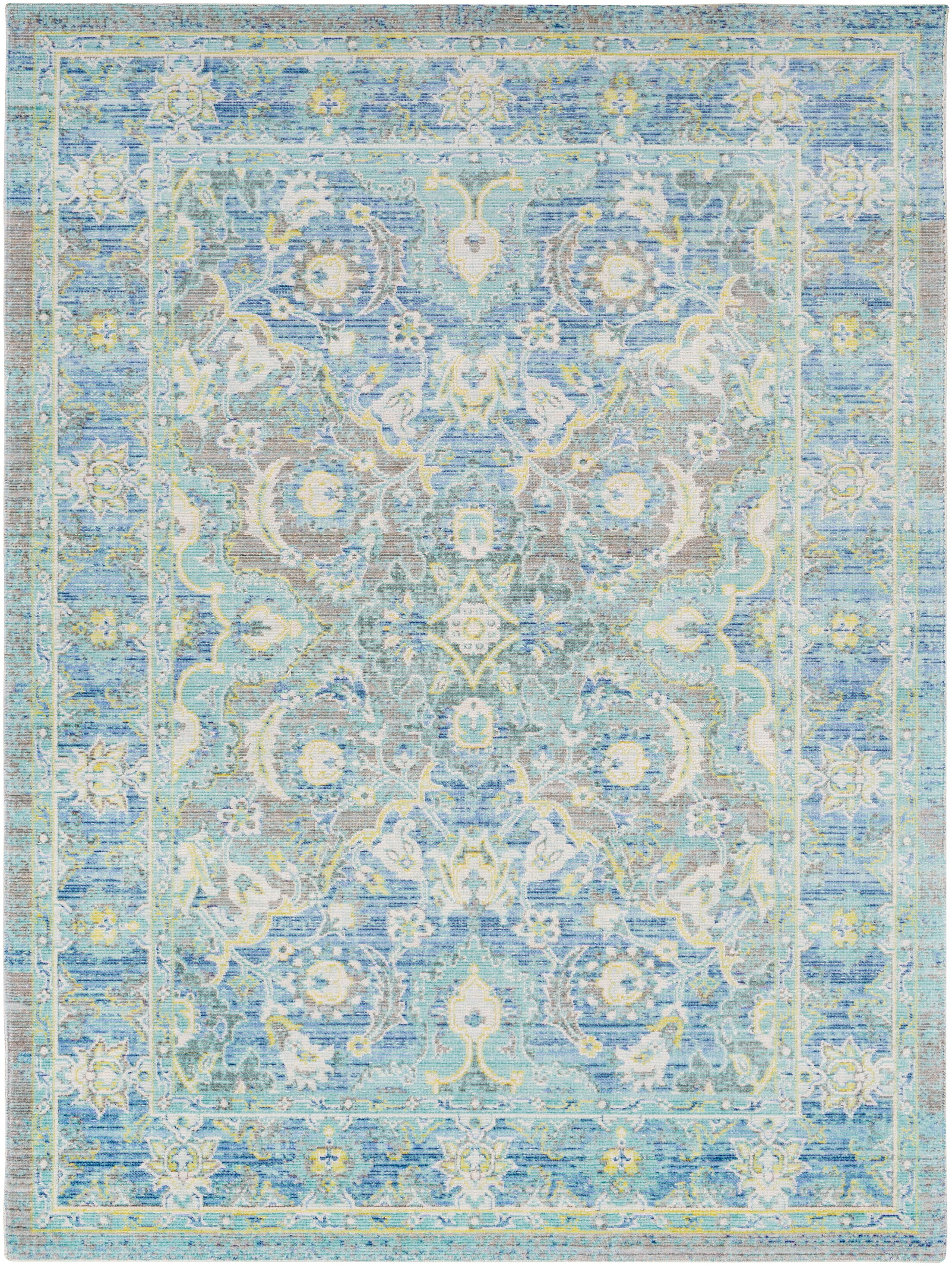 Lyngby-Taarbæk Floral and Plants Aqua Area Rug Rug Size: Rectangle 3'11