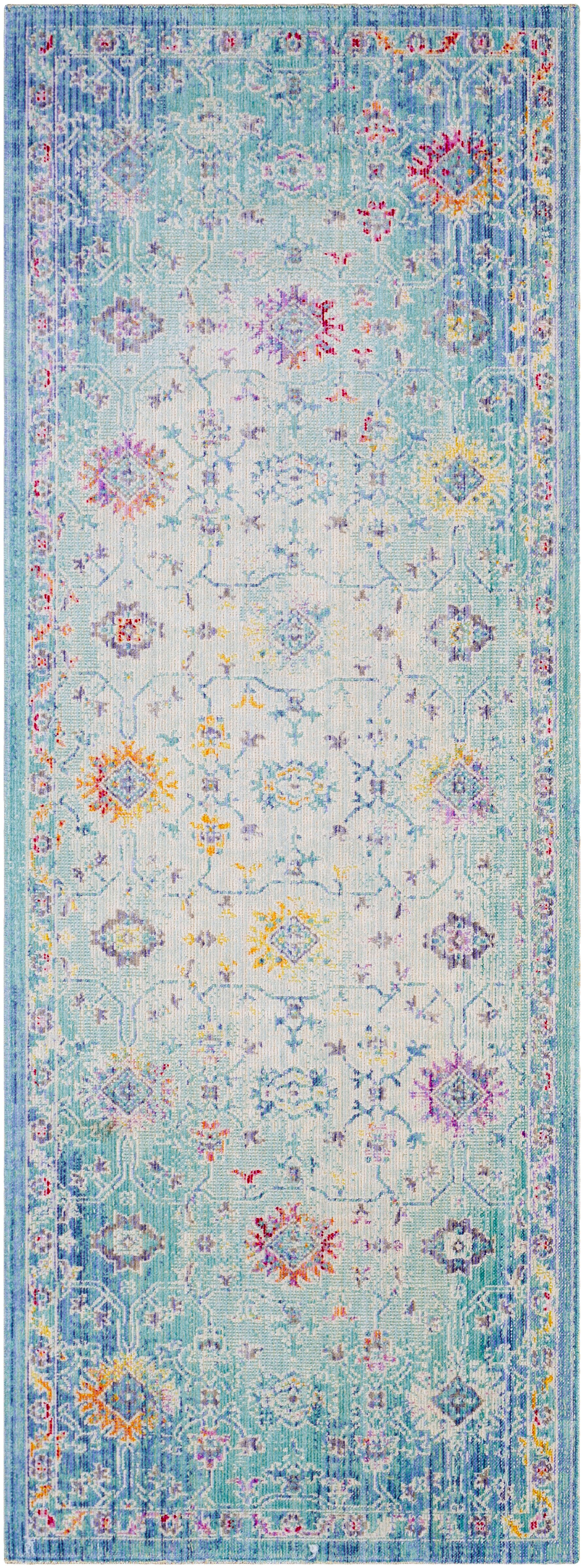 Lyngby-Taarbæk Classic Floral and Plants Aqua Area Rug Rug Size: Runner 3' x 7'1