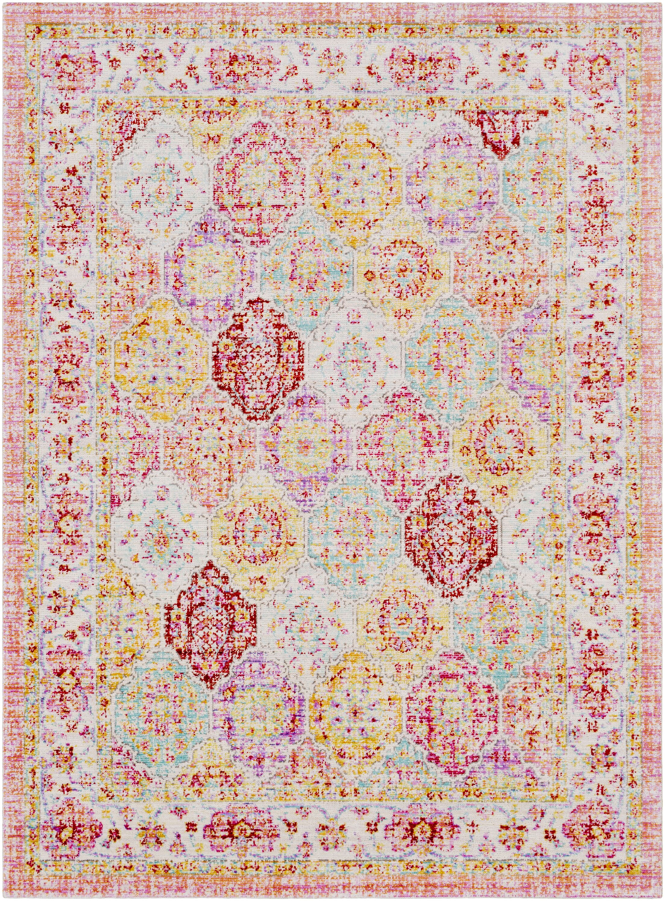 Lyngby-Taarbæk Lilac/Bright Yellow Area Rug Rug Size: Rectangle 7'10