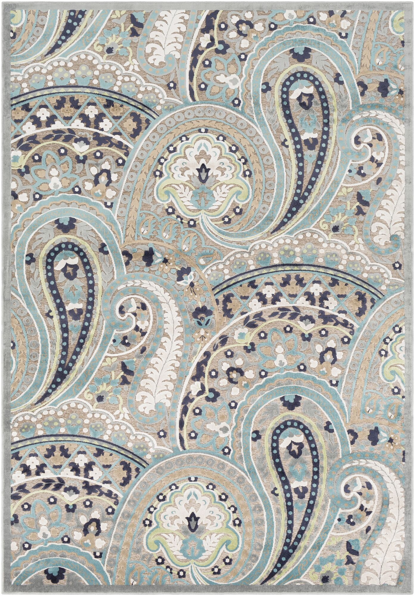 Hester Paisley Teal/Taupe Area Rug Rug Size: Rectangle 8'8