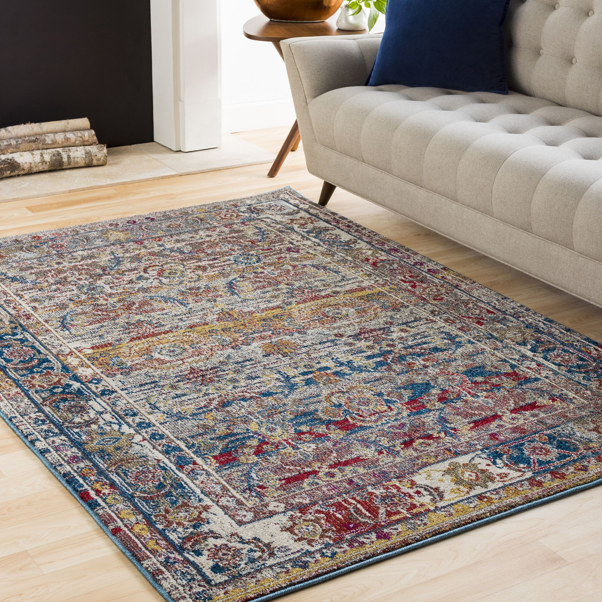 Walls Charcoal/Dark Red Area Rug Rug Size: Rectangle 6'7