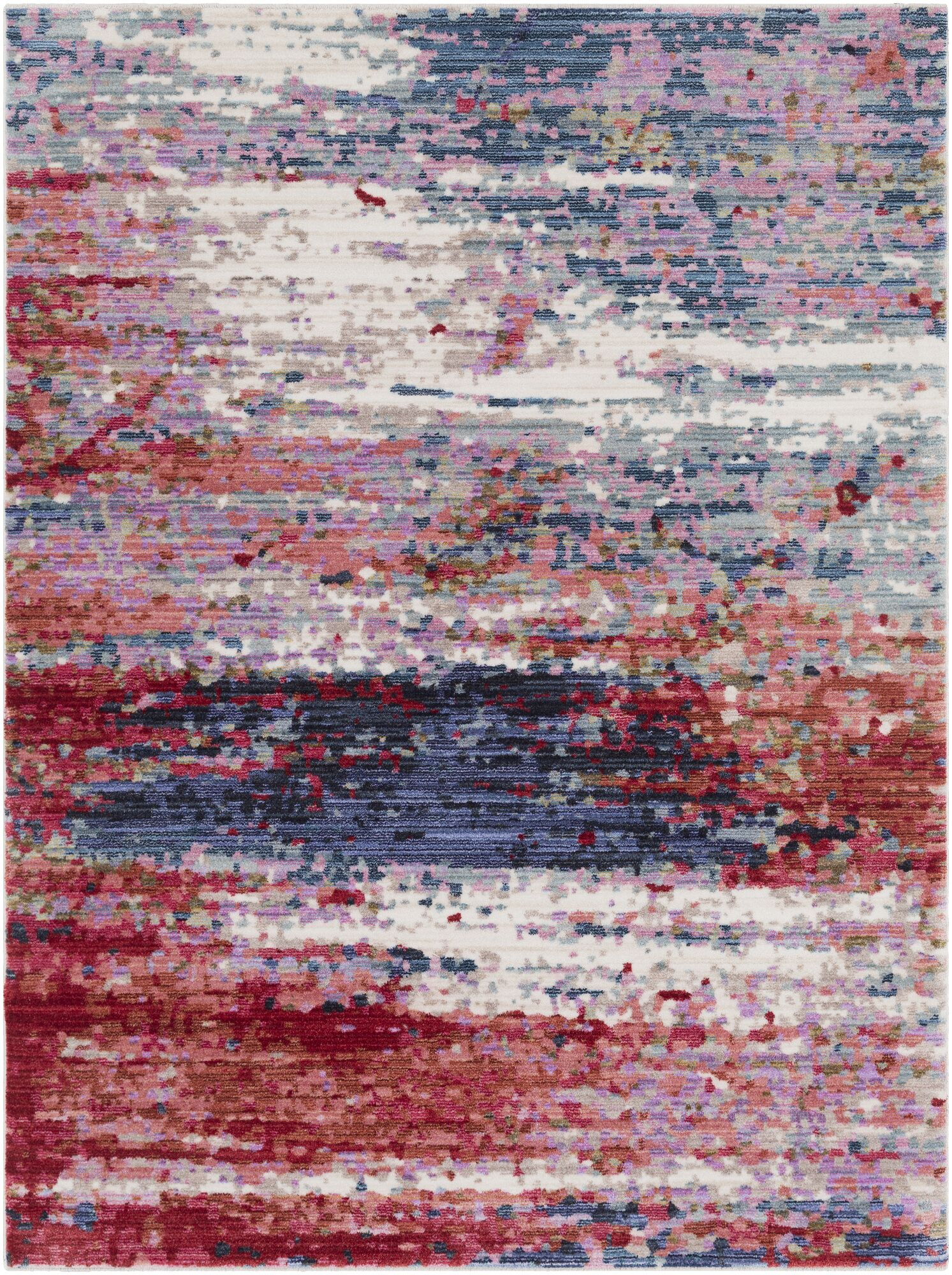 Turner Modern Abstract Red Area Rug Rug Size: Rectangle 5'3