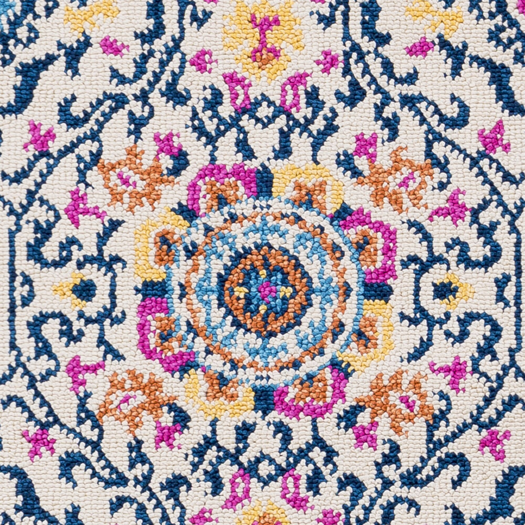 Josie Traditional Floral Blue Area Rug Rug Size: Runner 2'7