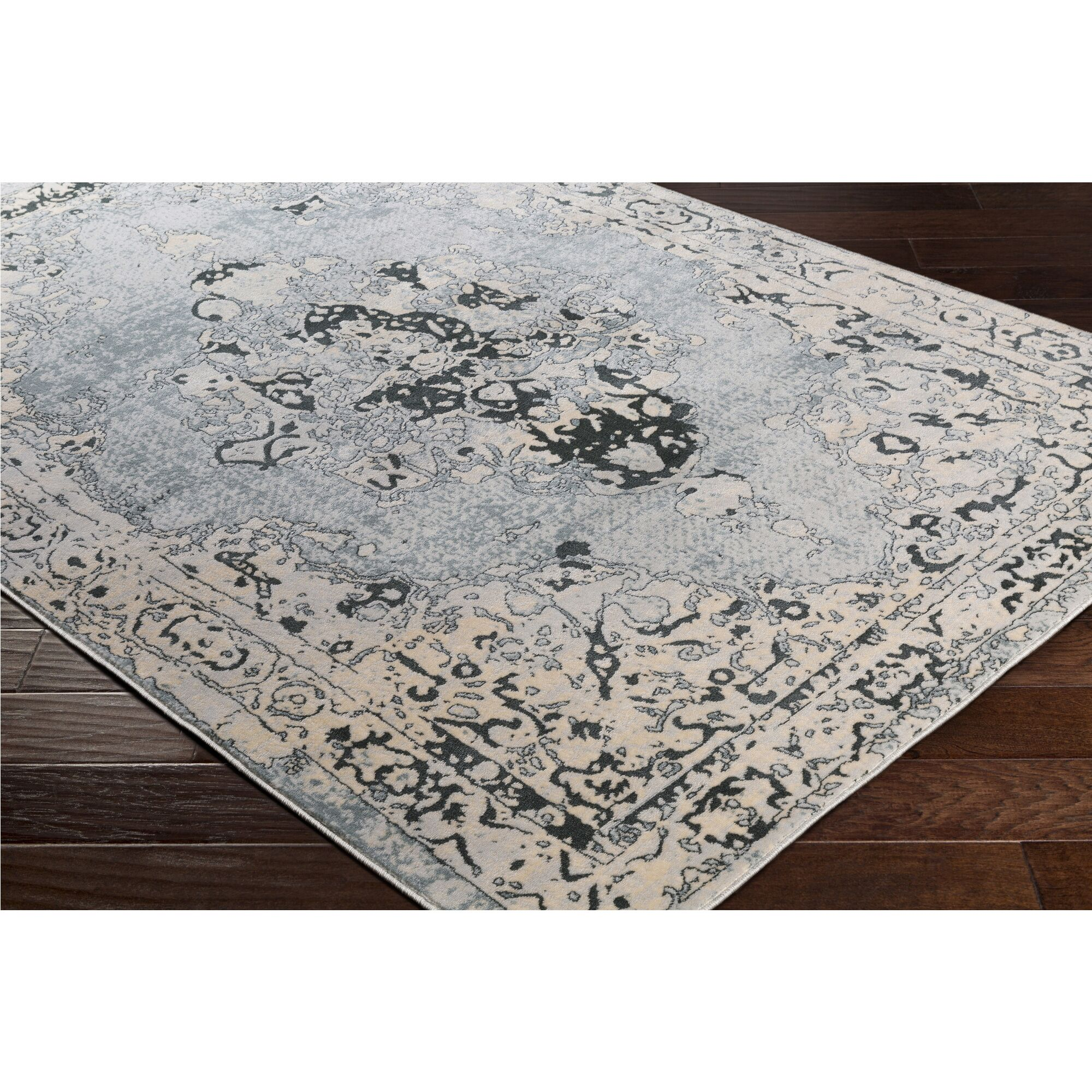 Synthia Blue/Cream Area Rug Rug Size: Rectangle 7'10