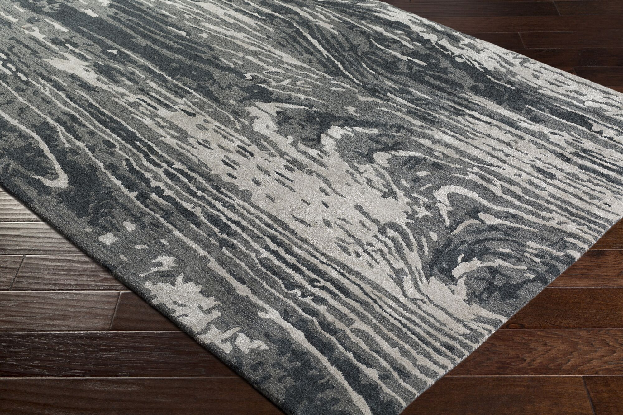 Fidela Abstract Hand Tufted Wool Charcoal/Taupe Area Rug Rug Size: Rectangle 9' x 13'