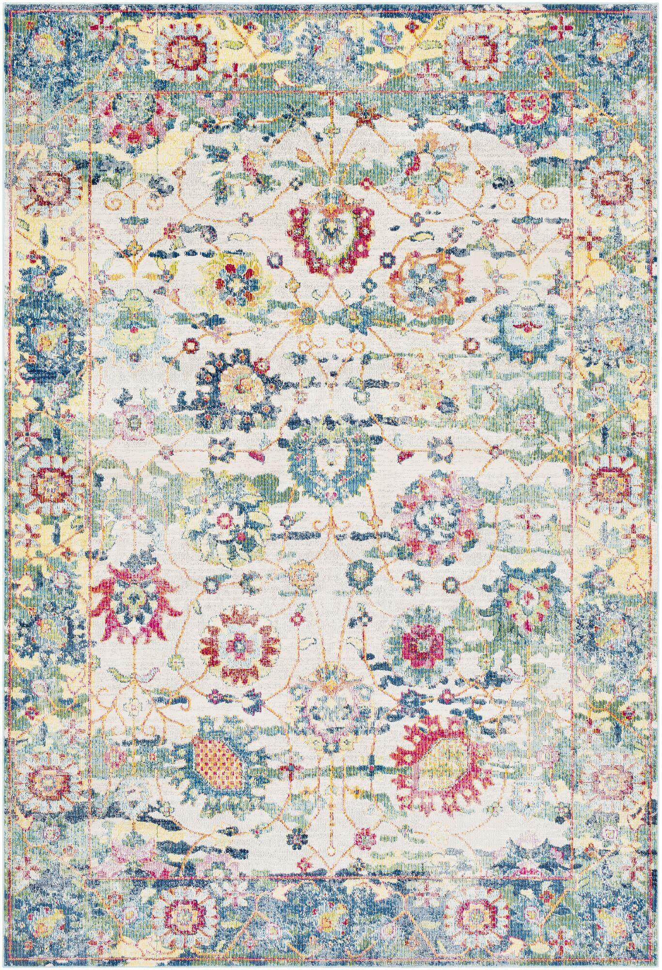 Tillamook Silk Vintage Floral Sky Blue/Bright Blue Area Rug Rug Size: Rectangle 5'3