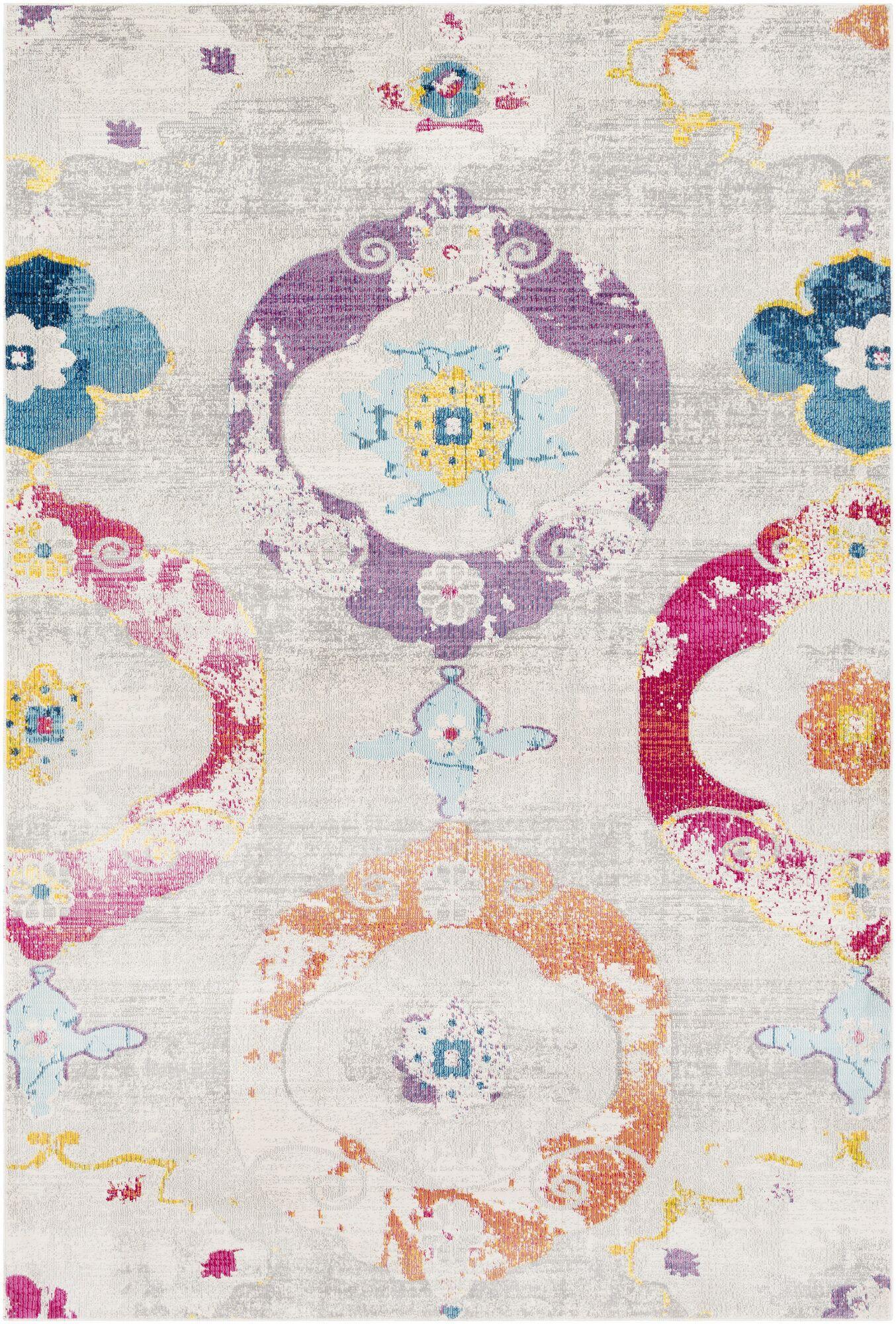 Tillamook Beige/Pink Area Rug Rug Size: Rectangle 5'3