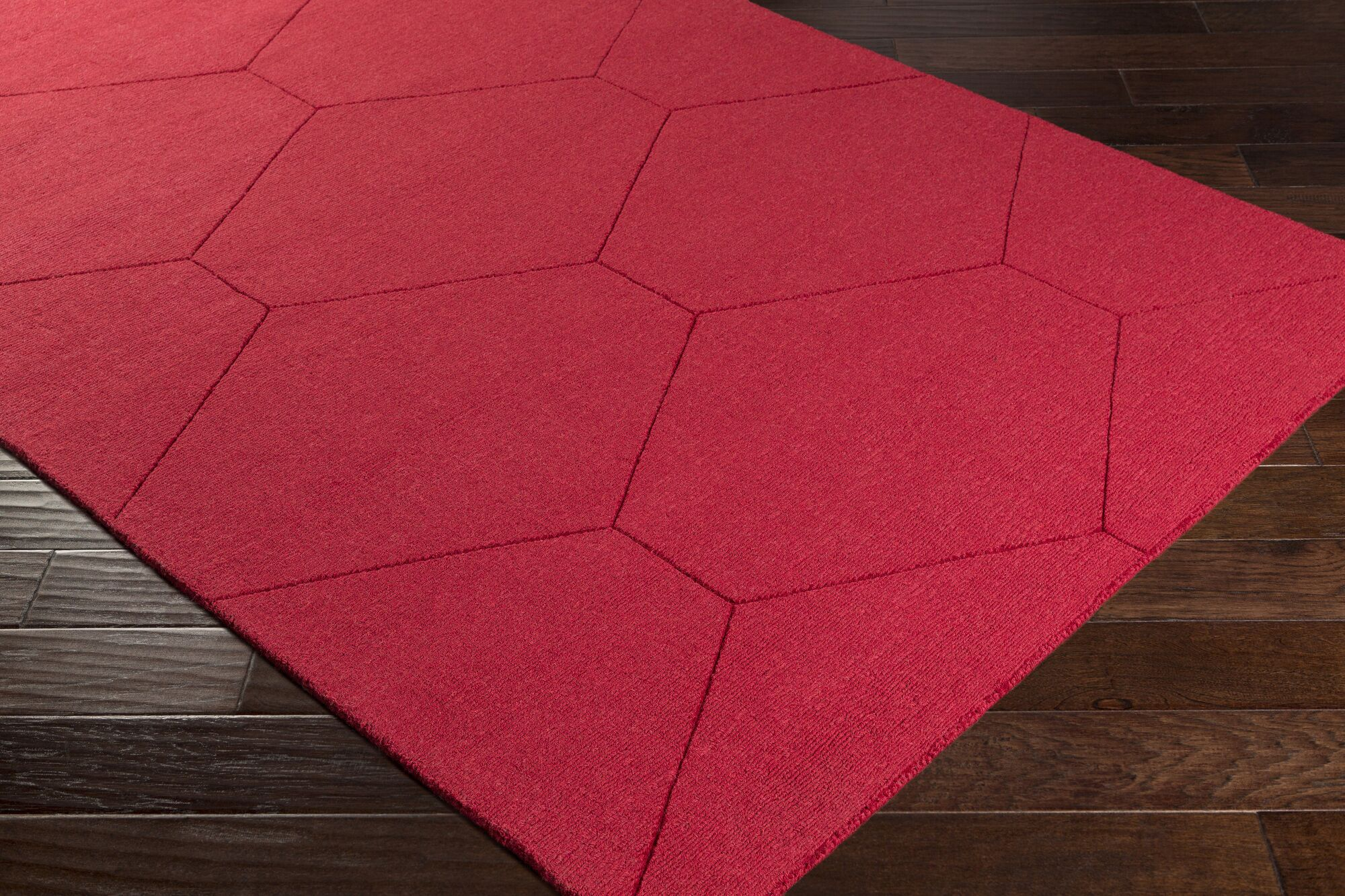 Pulcova Hand Woven Wool Dark Red Area Rug Rug Size: Rectangle 8' x 10'