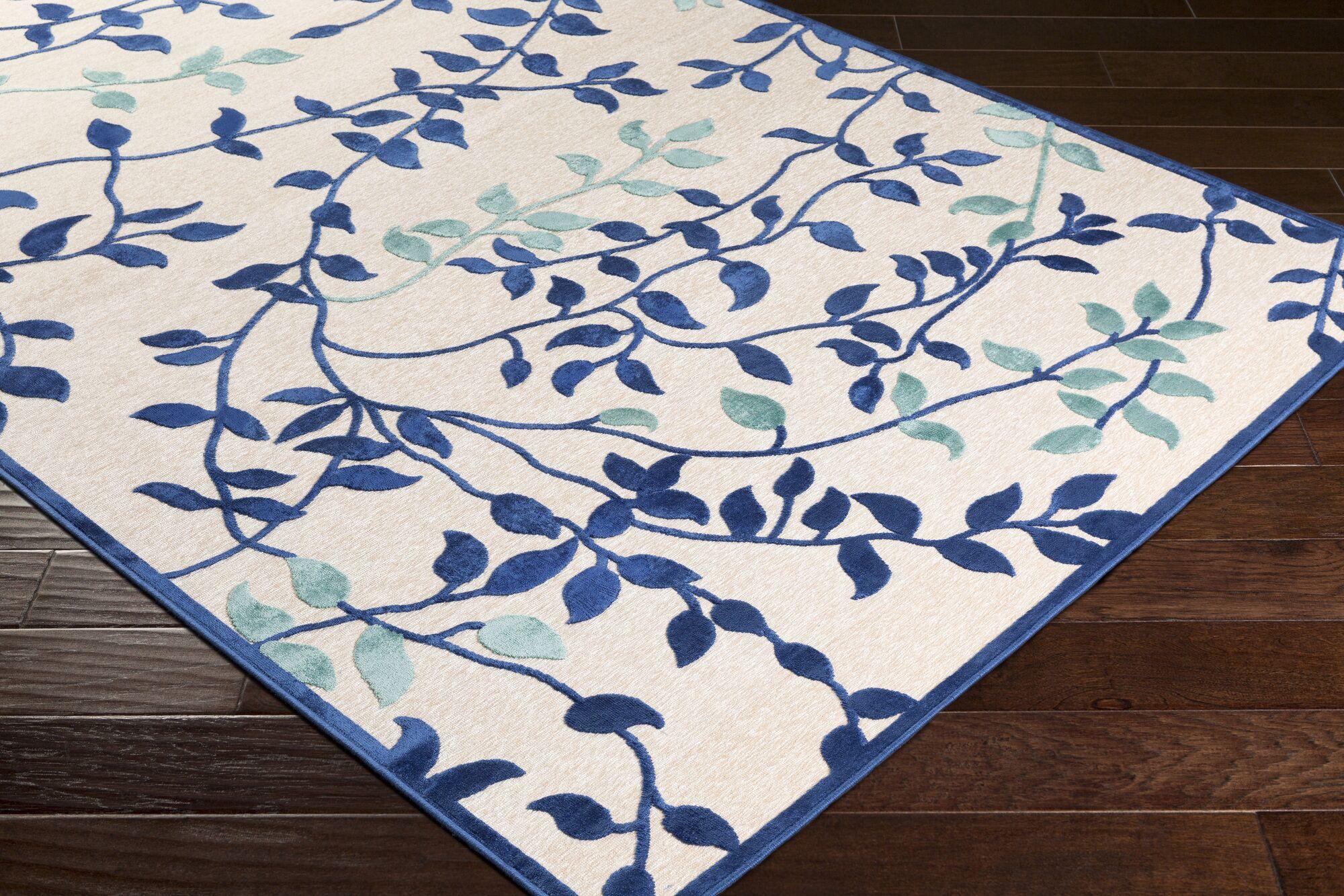 Holoman Transitional Floral Bright Blue/Teal Area Rug Rug Size: Rectangle 5'2