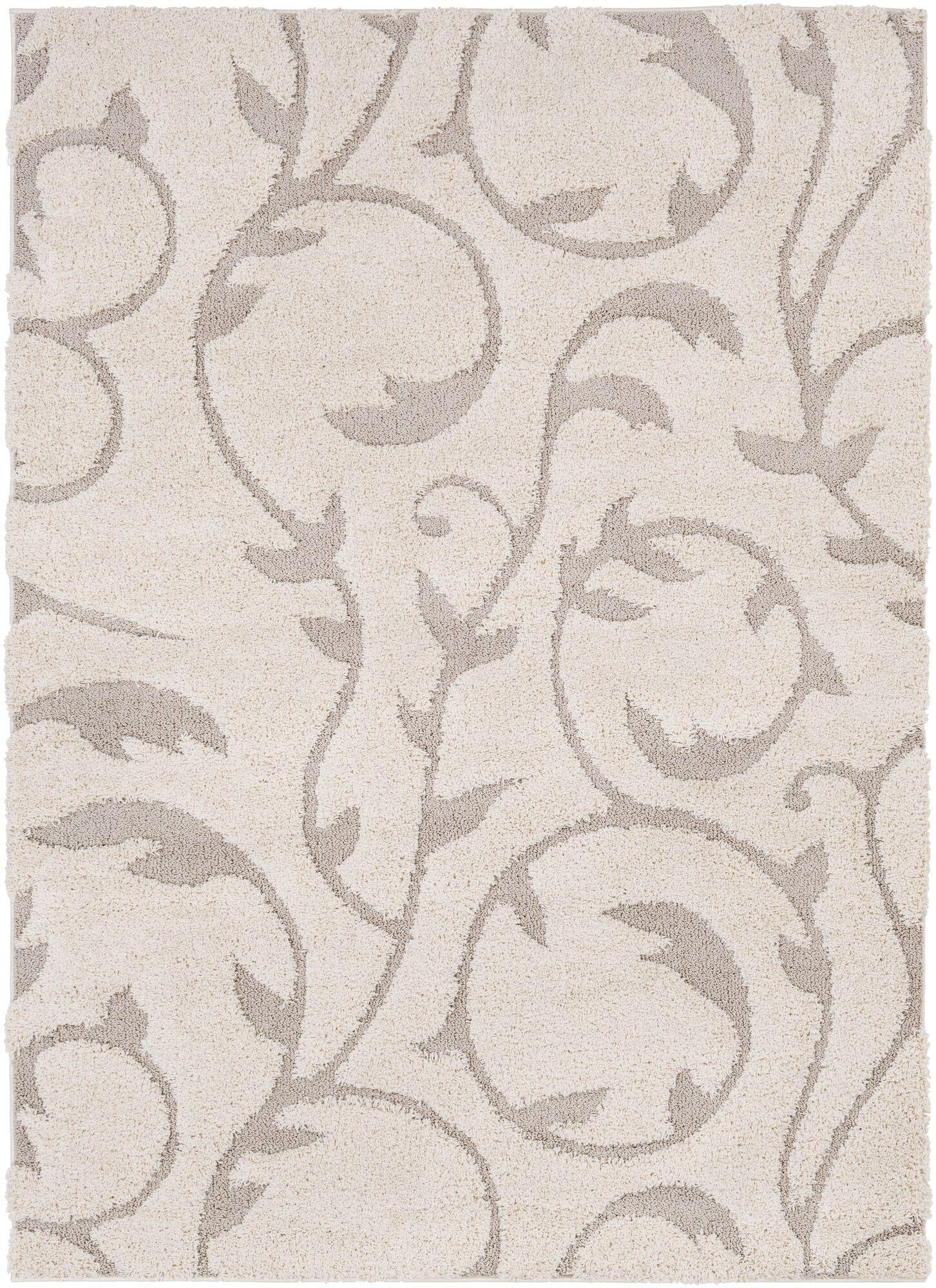 Arlen Floral Cream/Tan Area Rug Rug Size: Rectangle 5'3