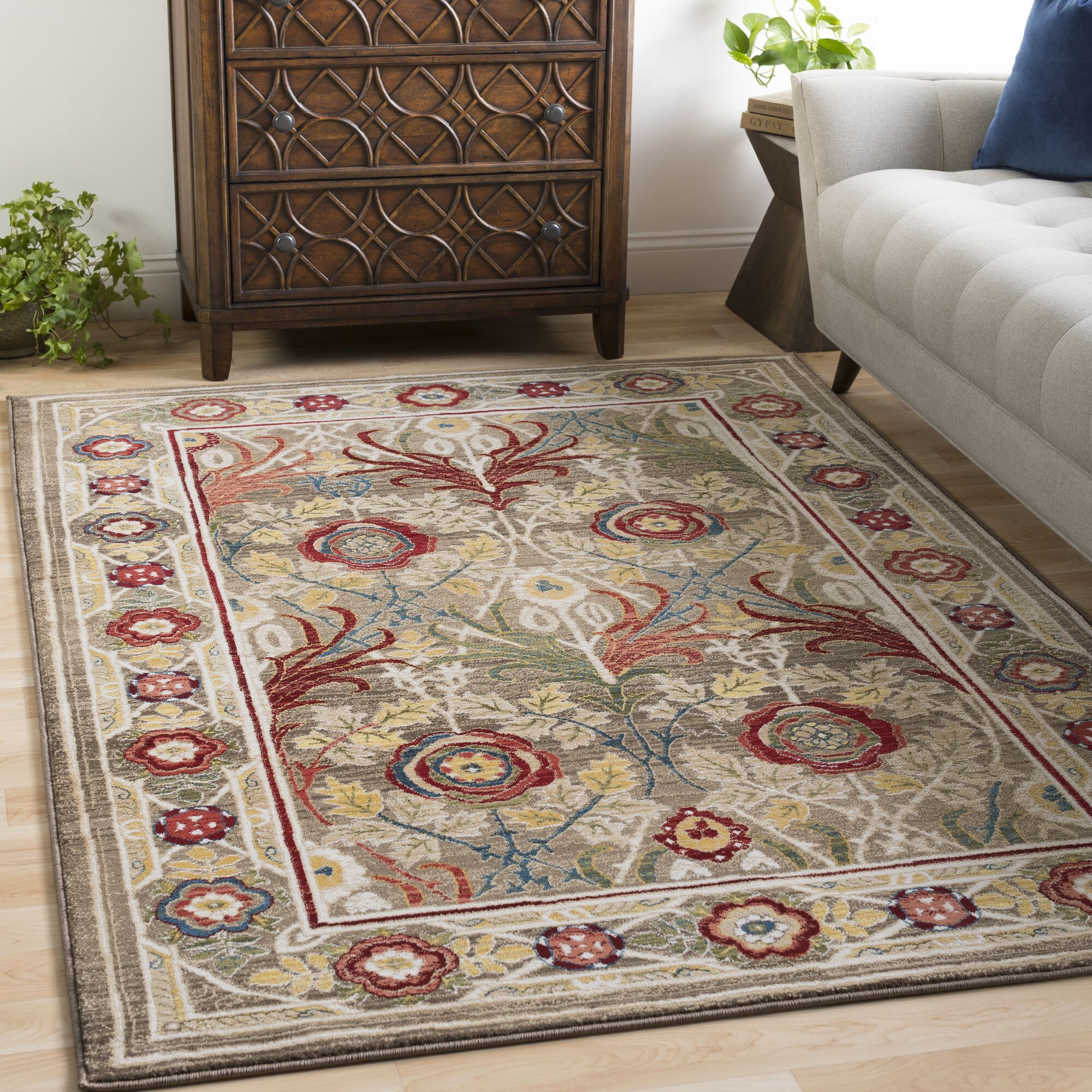 Arbouet Floral Brown/Cream Area Rug Rug Size: Rectangle 5'1