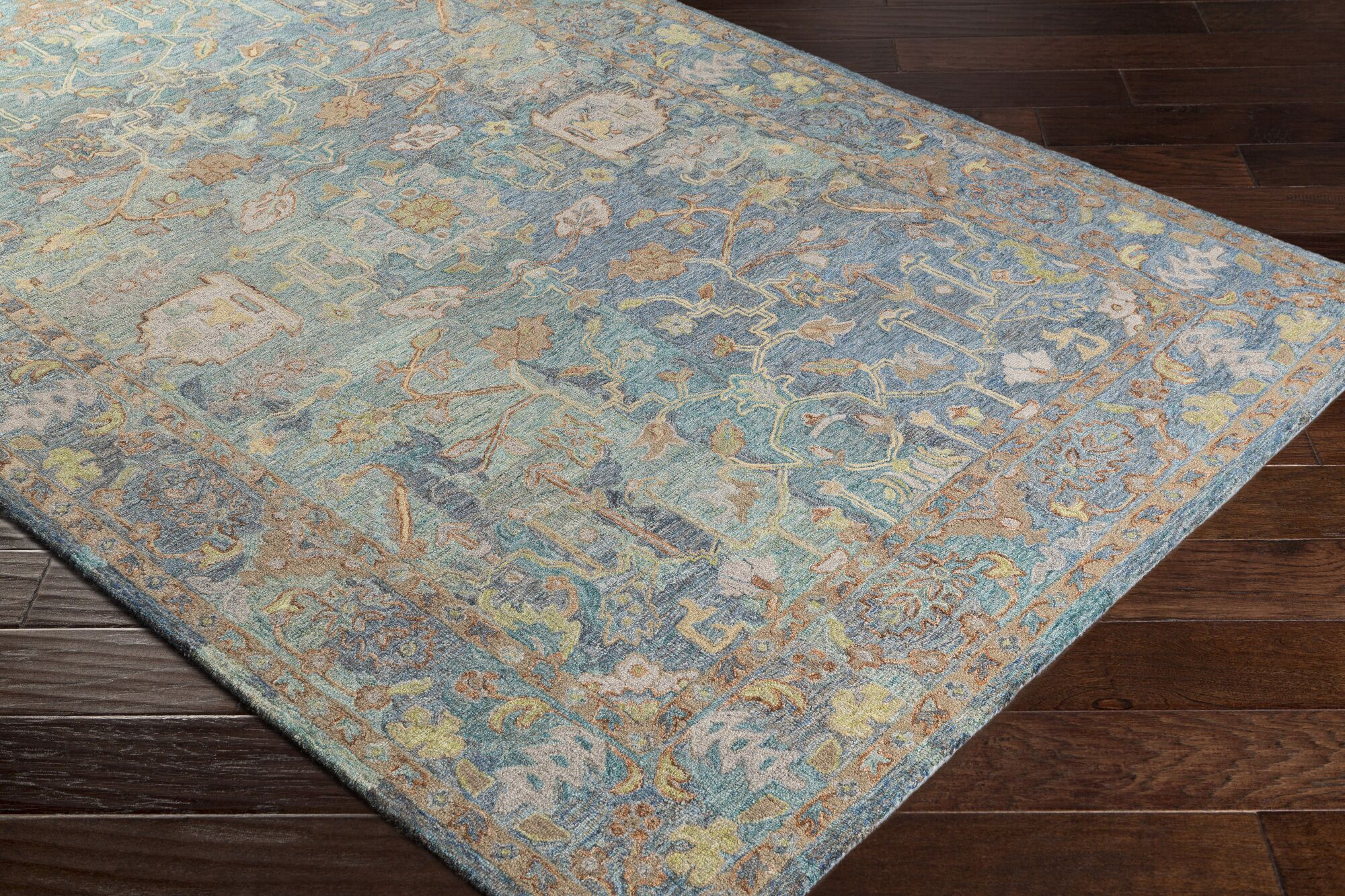 Kendall Green Vintage Floral Hand Hooked Wool Aqua/Gray Area Rug Rug Size: Rectangle 5' x 7'6