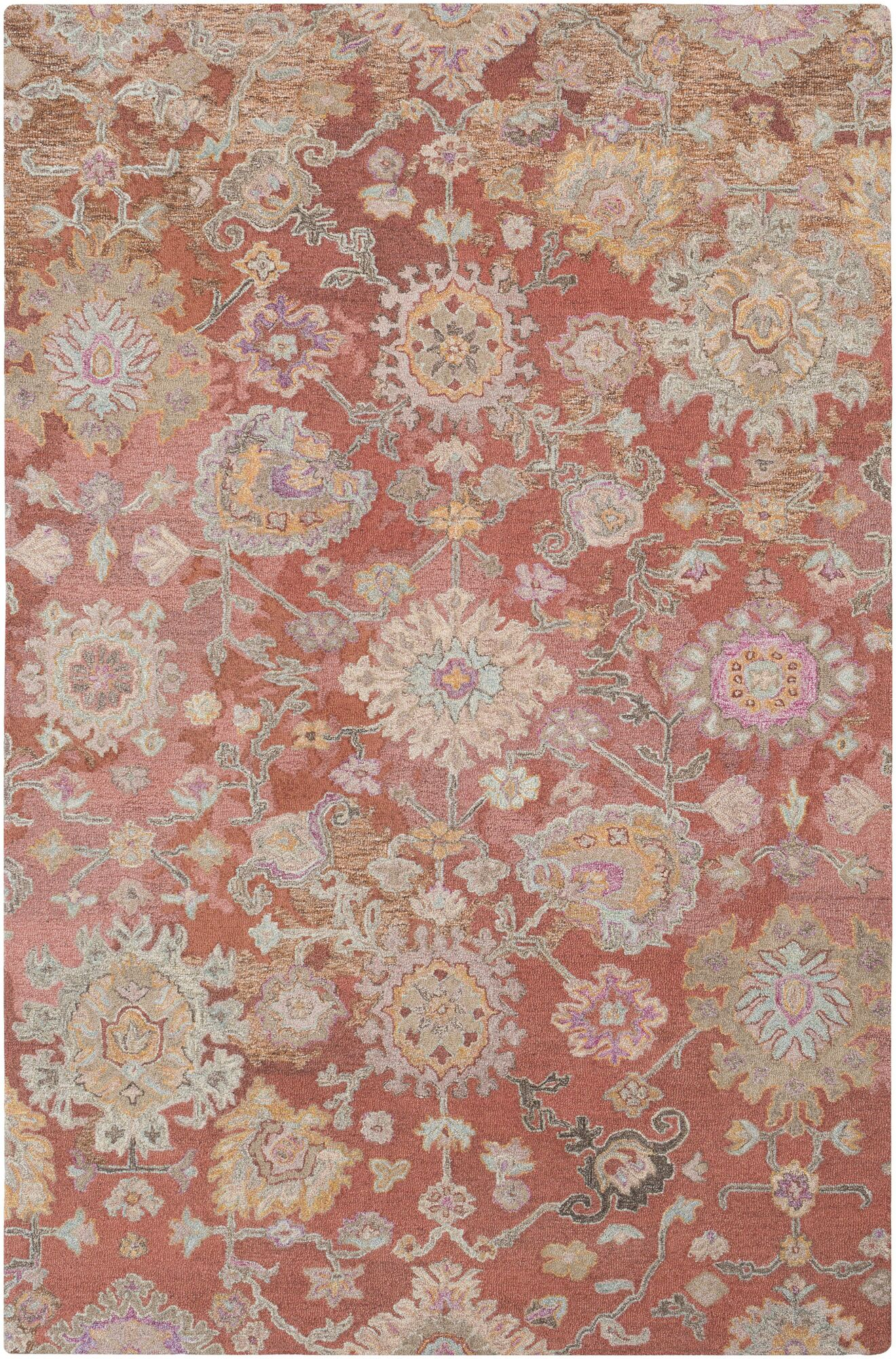 Kendall Green Vintage Floral Hand Hooked Wool Camel/Tan Area Rug Rug Size: Rectangle 5' x 7'6