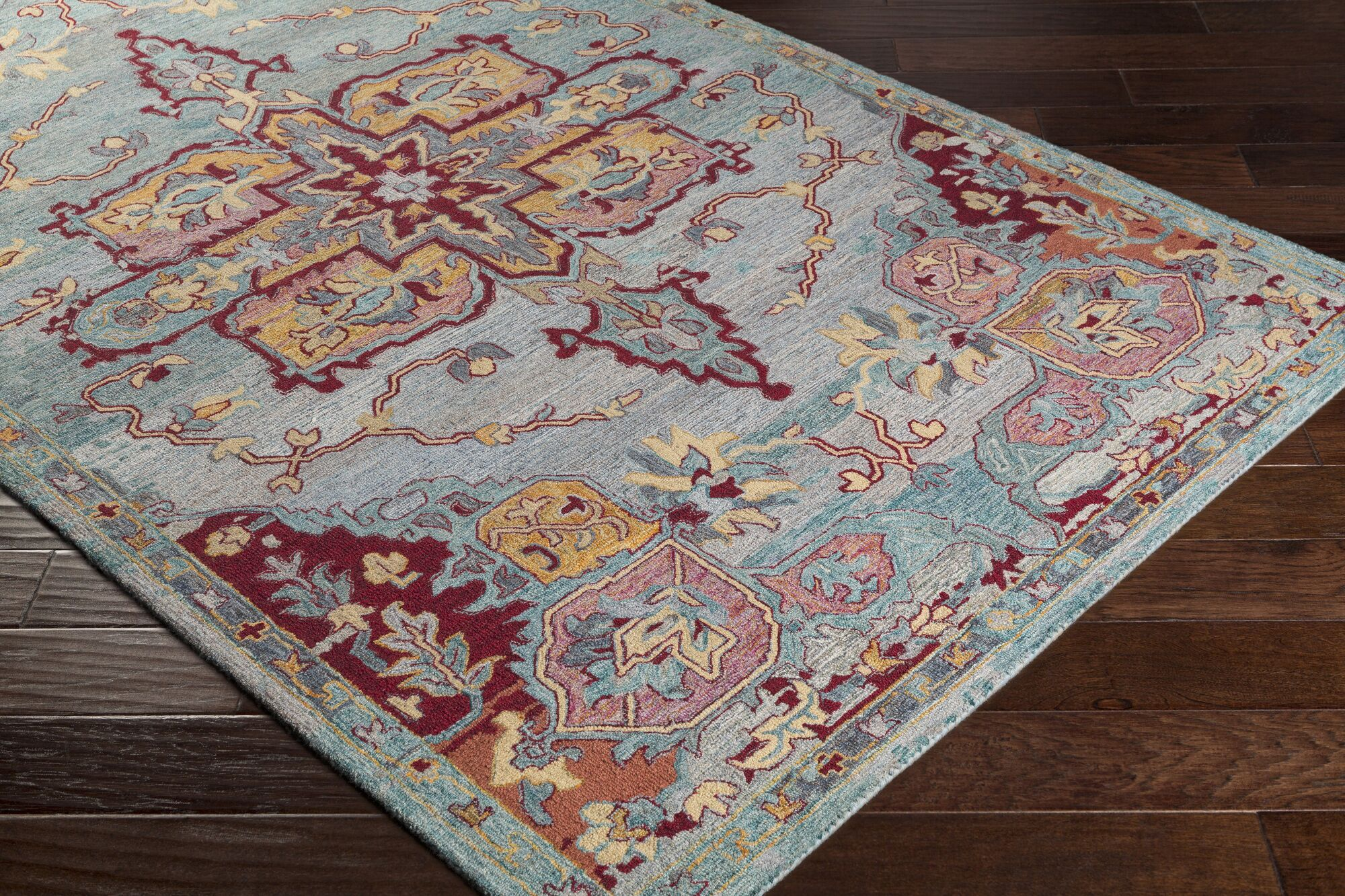 Kendall Green Floral Hand Hooked Wool Emerald/Cream Area Rug Rug Size: Rectangle 8' x 10'