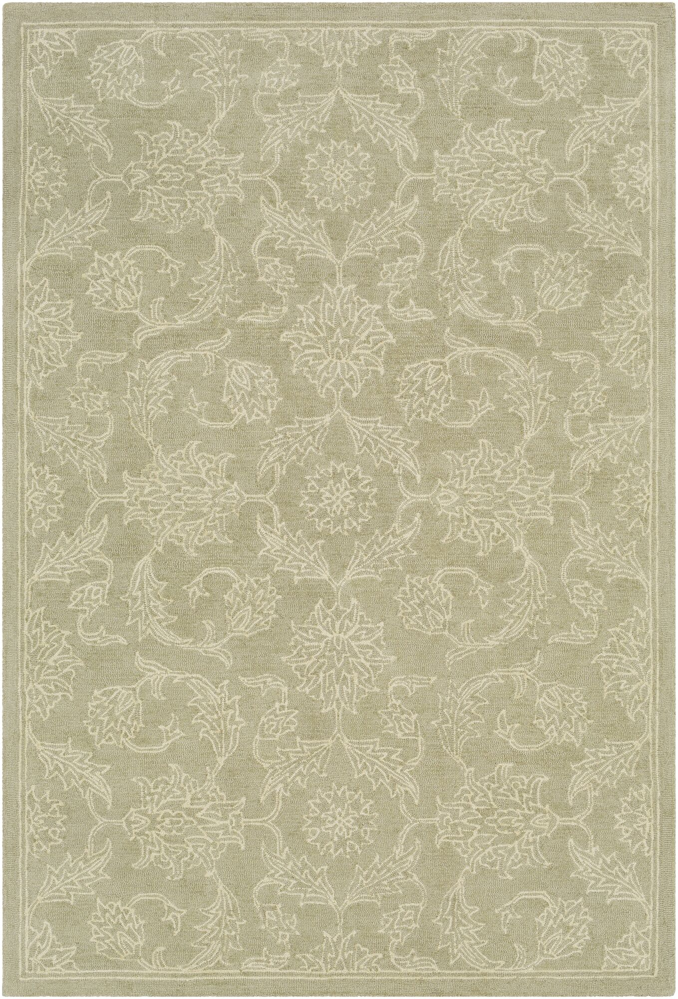 Argent Floral Hand Hooked Wool Sage Area Rug Rug Size: Rectangle 8' x 10'