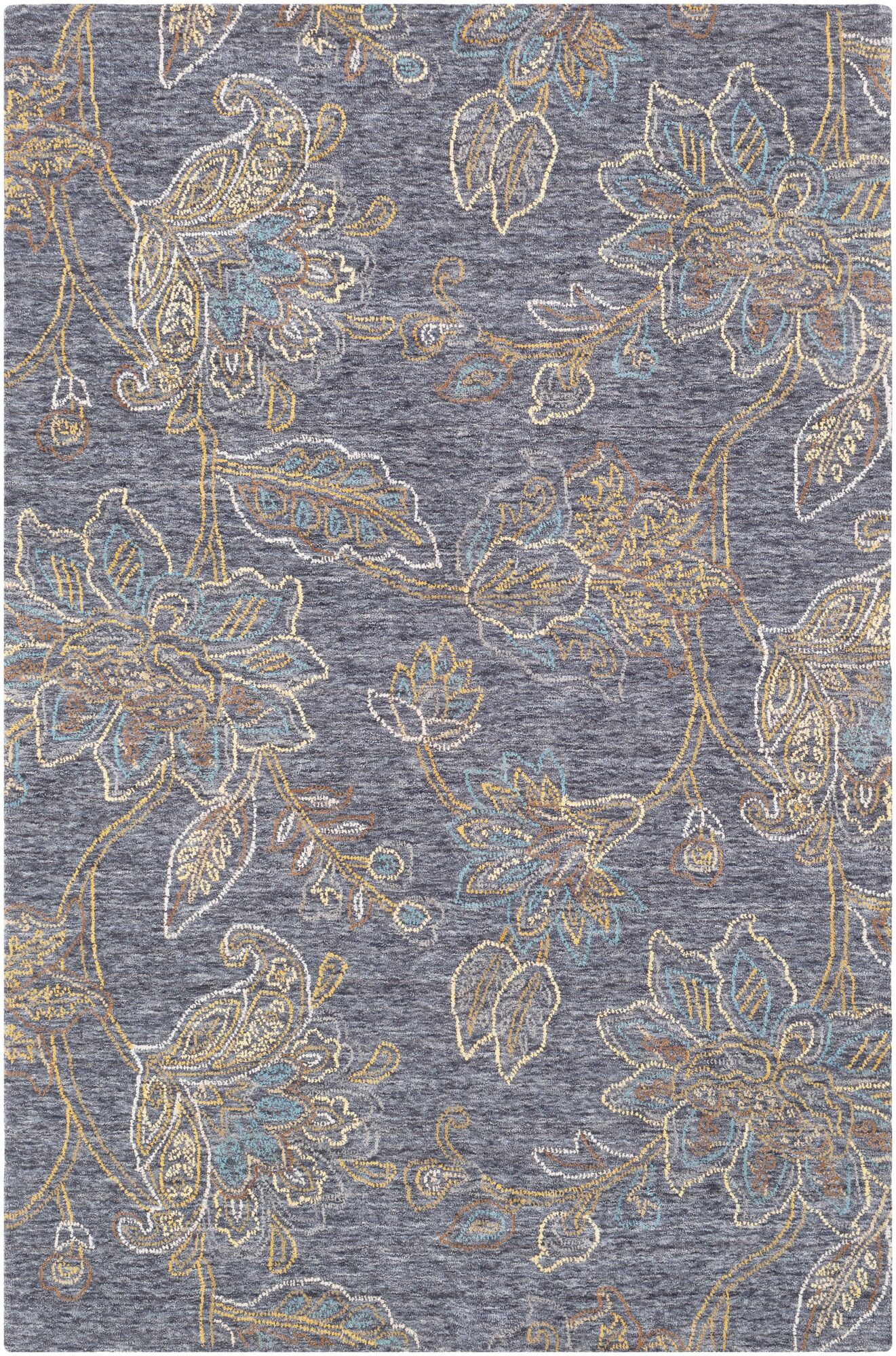 Arata Floral-Hand Tufted Wool Blue Area Rug Rug Size: Rectangle 8' x 10'