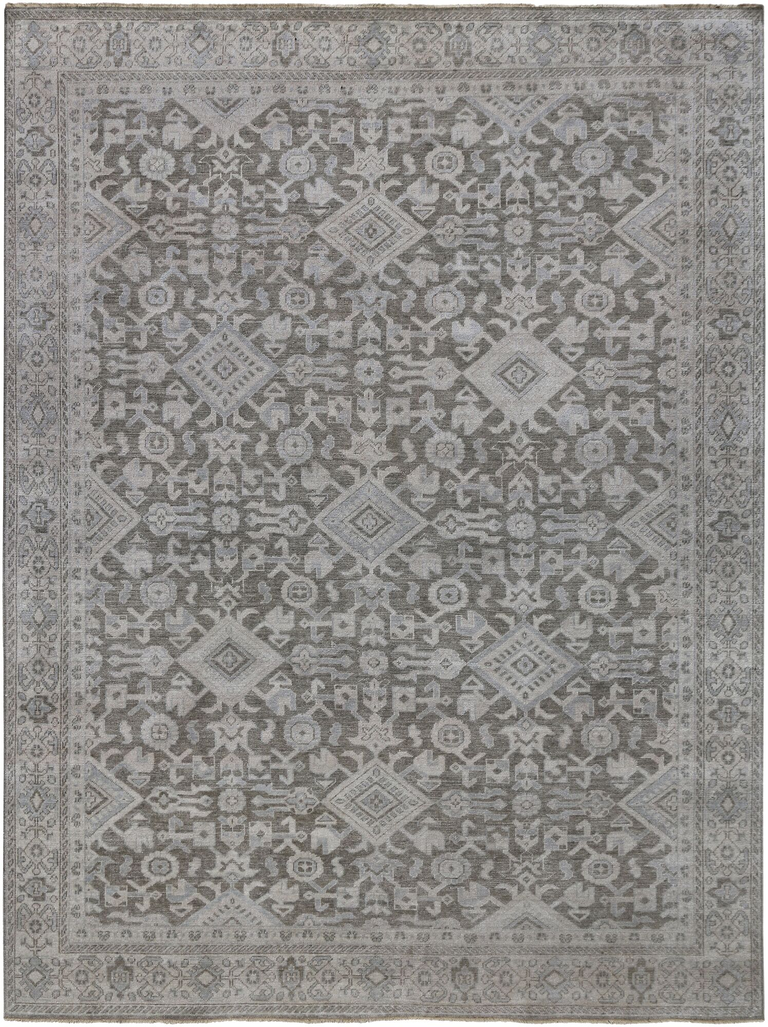 River House Hand Knotted Wool Gray Area Rug Rug Size: 8' x 10'
