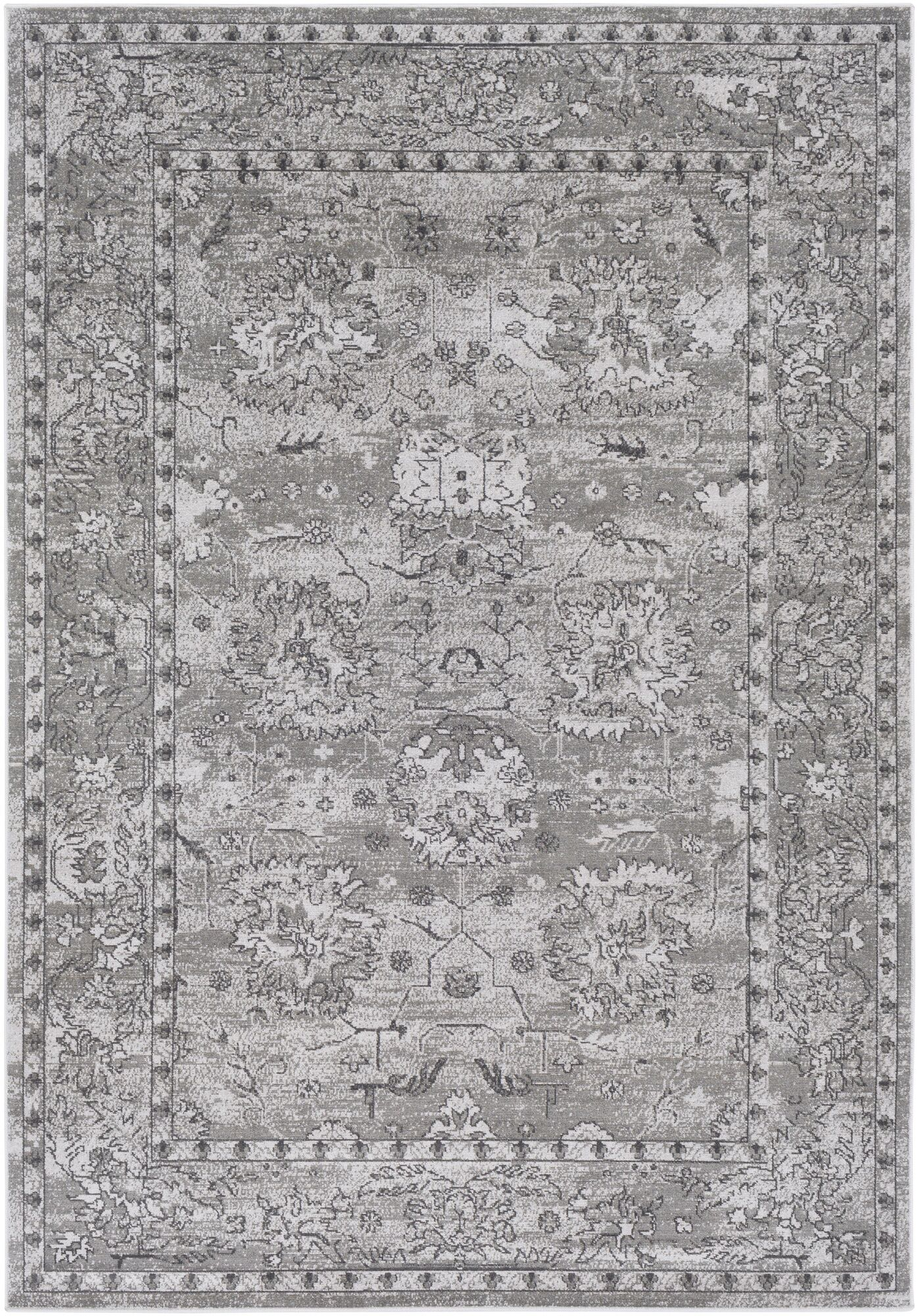 Riverbend Traditional Floral Gray/Charcoal Area Rug Rug Size: Rectangle 7'10