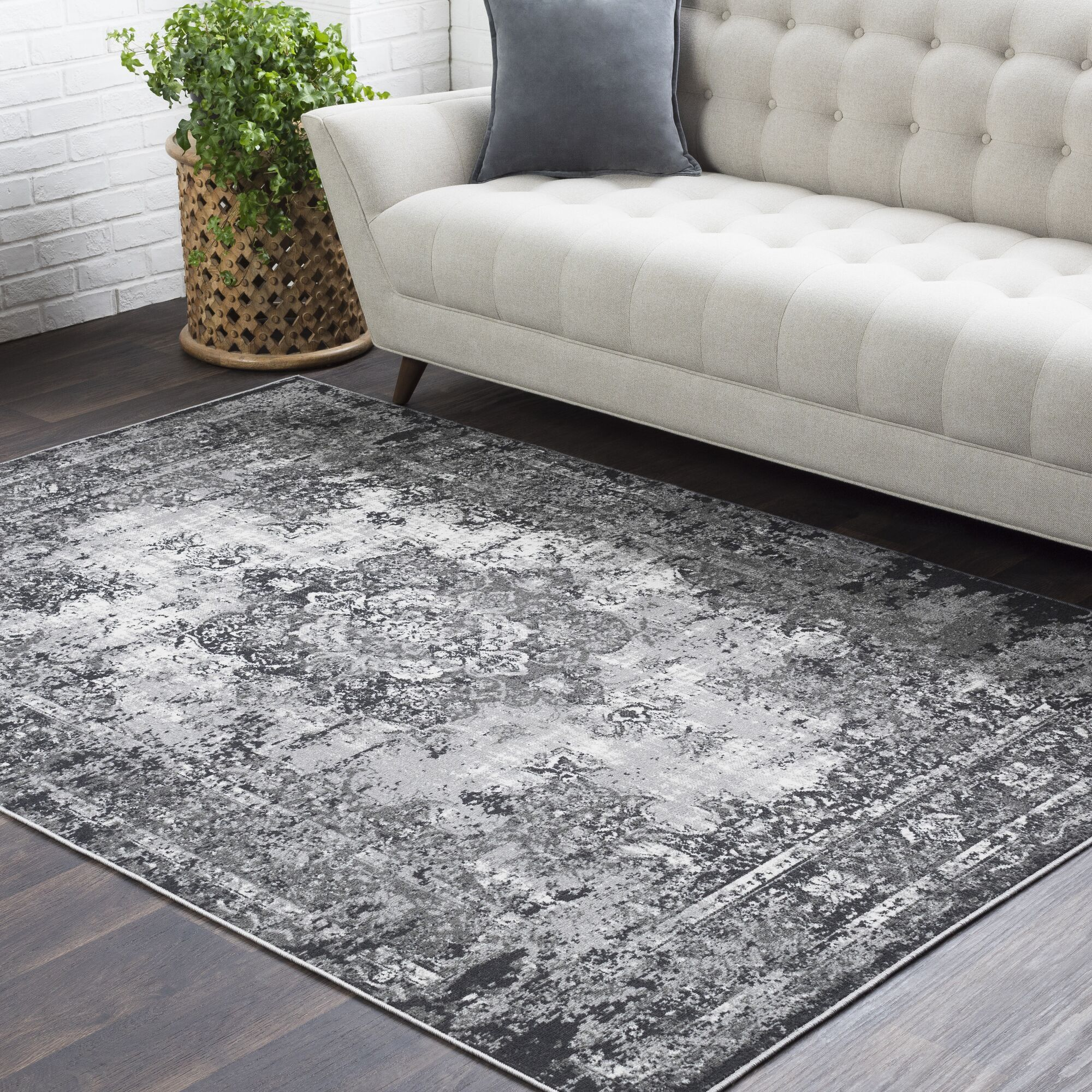 Sharpes Gray/Charcoal Area Rug Rug Size: Rectangle 7'10