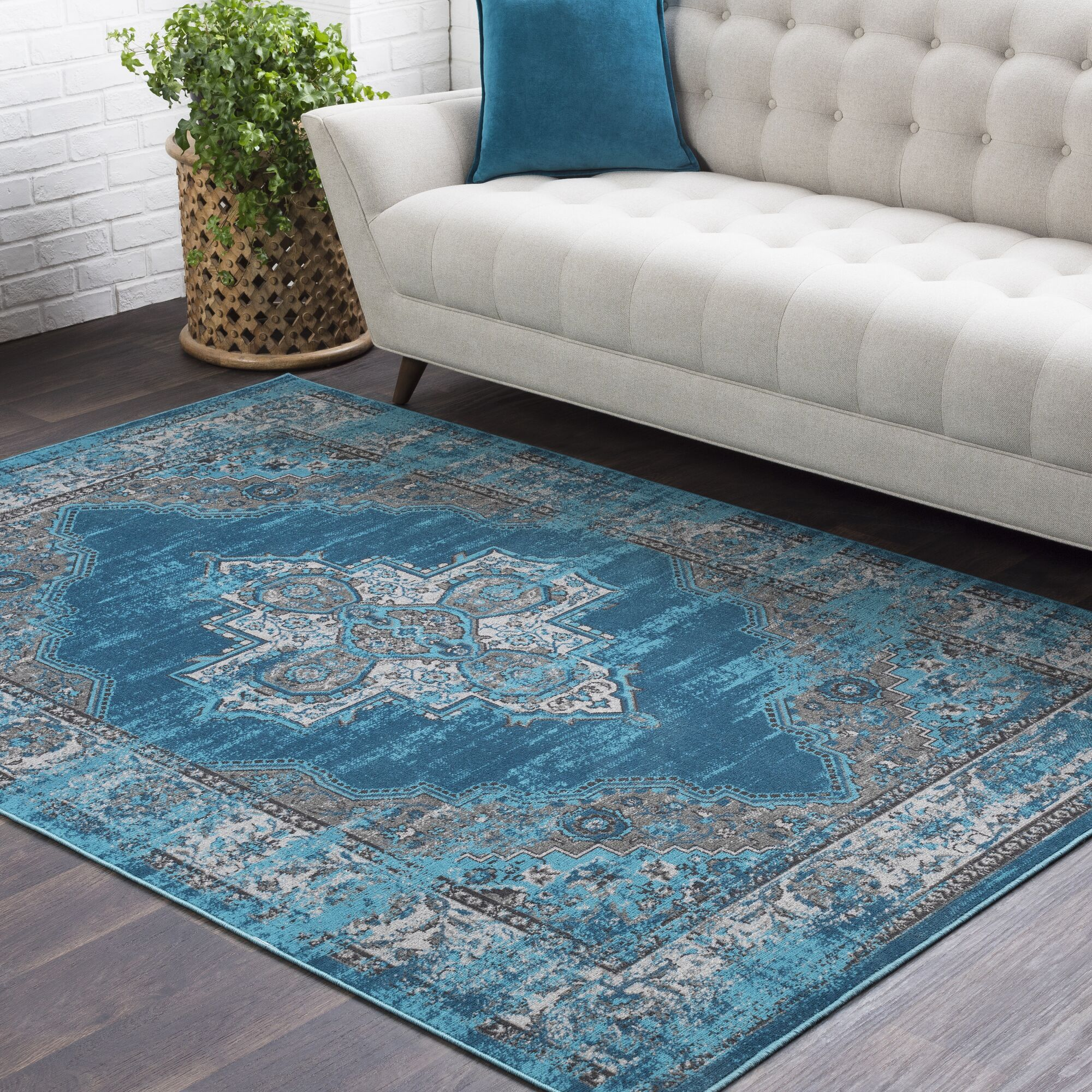 Sharpes Teal/Medium Gray Area Rug Rug Size: Rectangle 2' x 3'