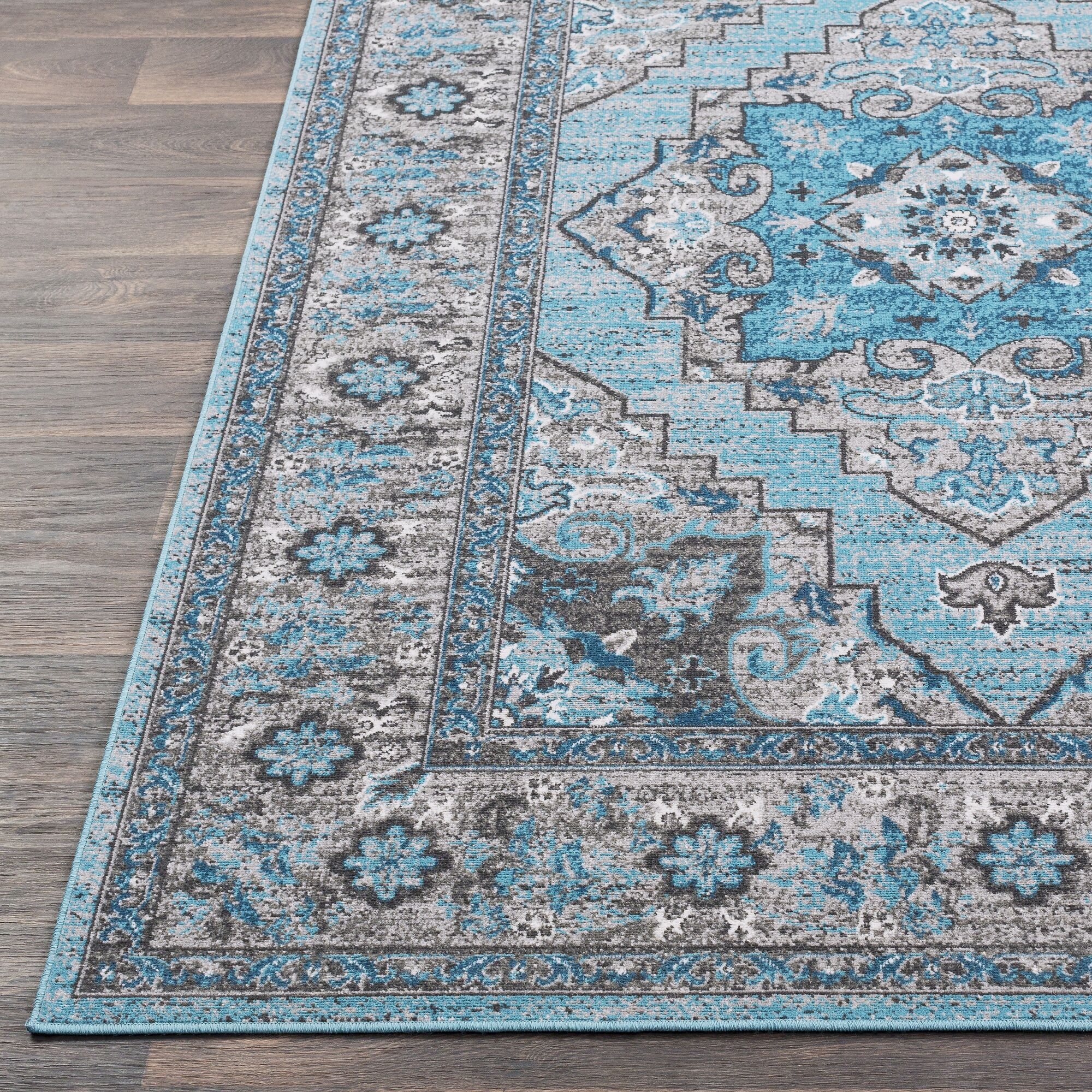 Sharpes Teal/Gray Area Rug Rug Size: Rectangle 5'3
