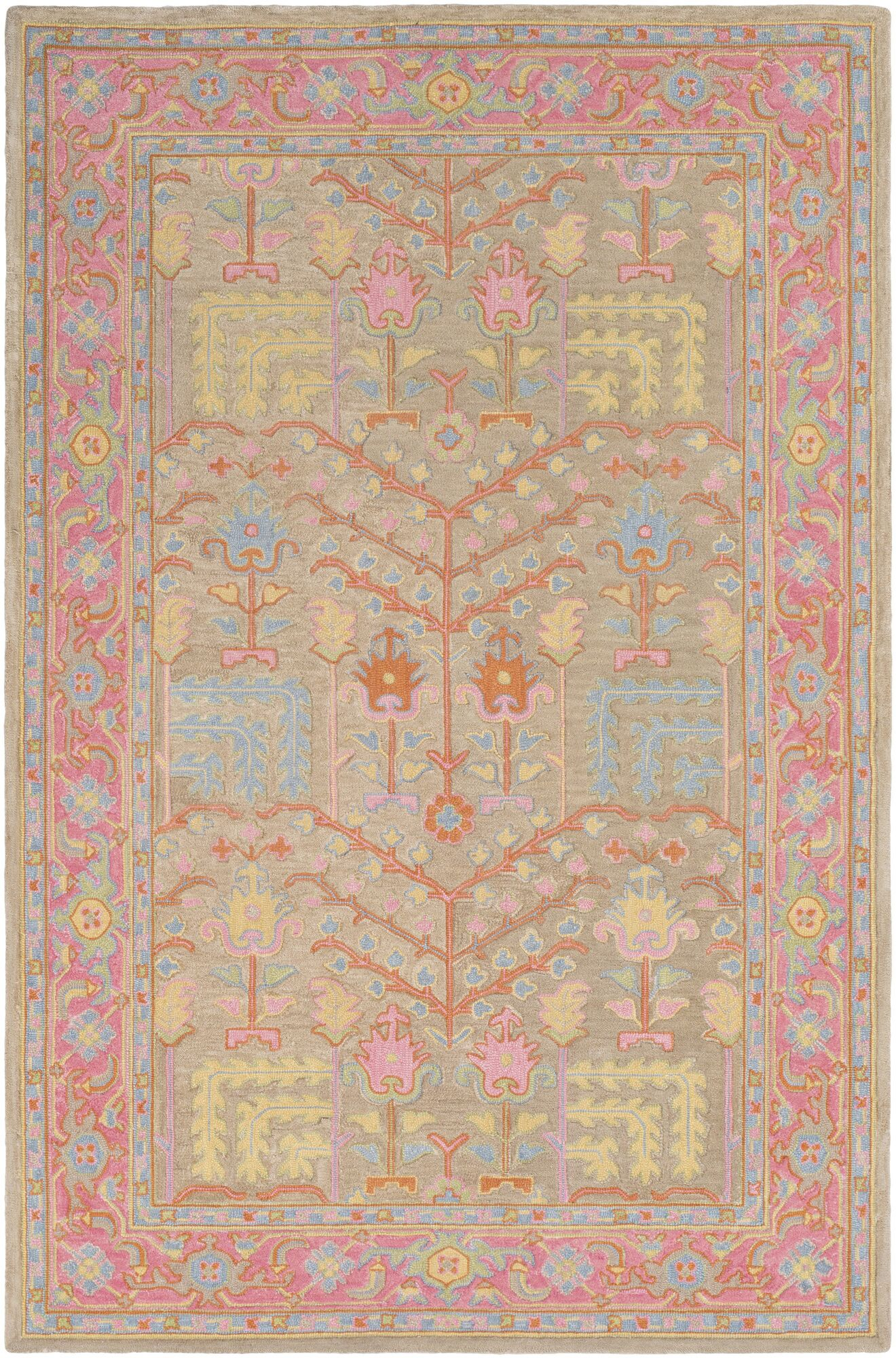 Edgerly Hand Tufted Wool Tan/Bright Pink Area Rug Rug Size: Rectangle 5' x 7'6