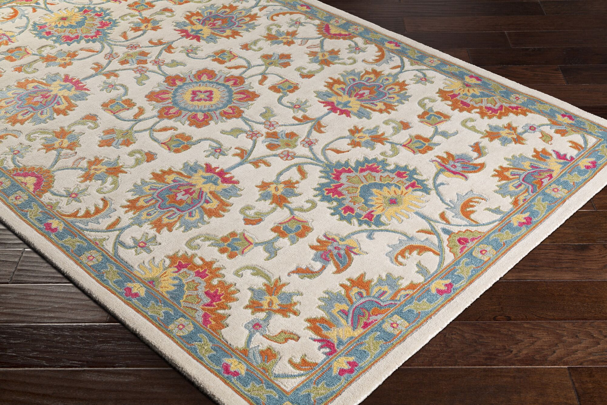 Edgerly Hand Tufted Wool Burnt Orange/Cream/Aqua Area Rug Rug Size: Rectangle 5' x 7'6