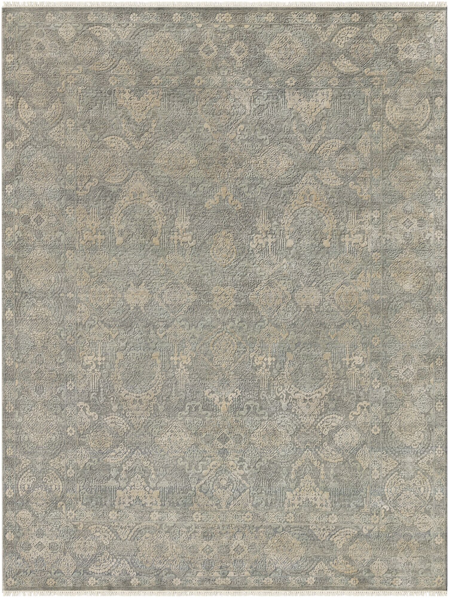 Gerhardine Hand Knotted Sage/Light Gray Area Rug Rug Size: 8' x 10'