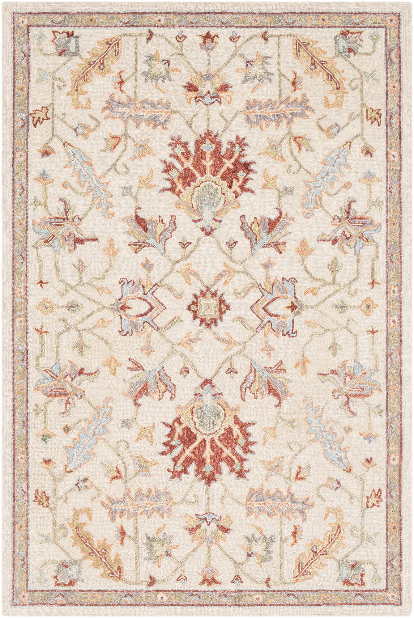 Rimrock Traditional Floral Hand Hooked Wool Khaki Area Rug Rug Size: Rectangle 5' x 7'6