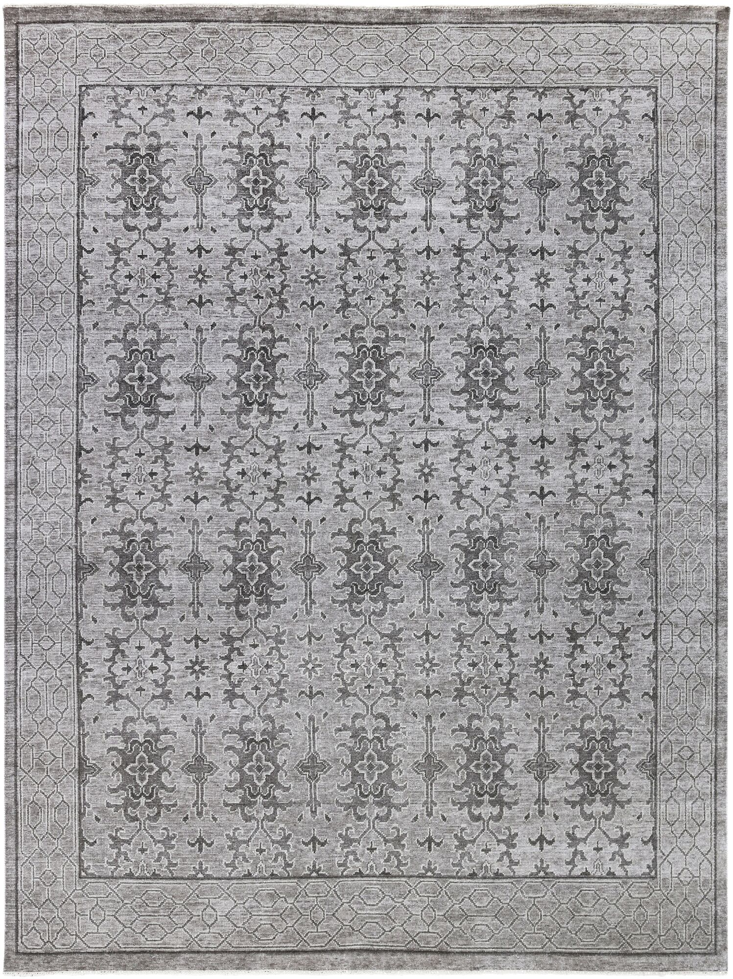 Ripon Traditional Hand Knotted Light Gray Area Rug Rug Size: 6' x 9'