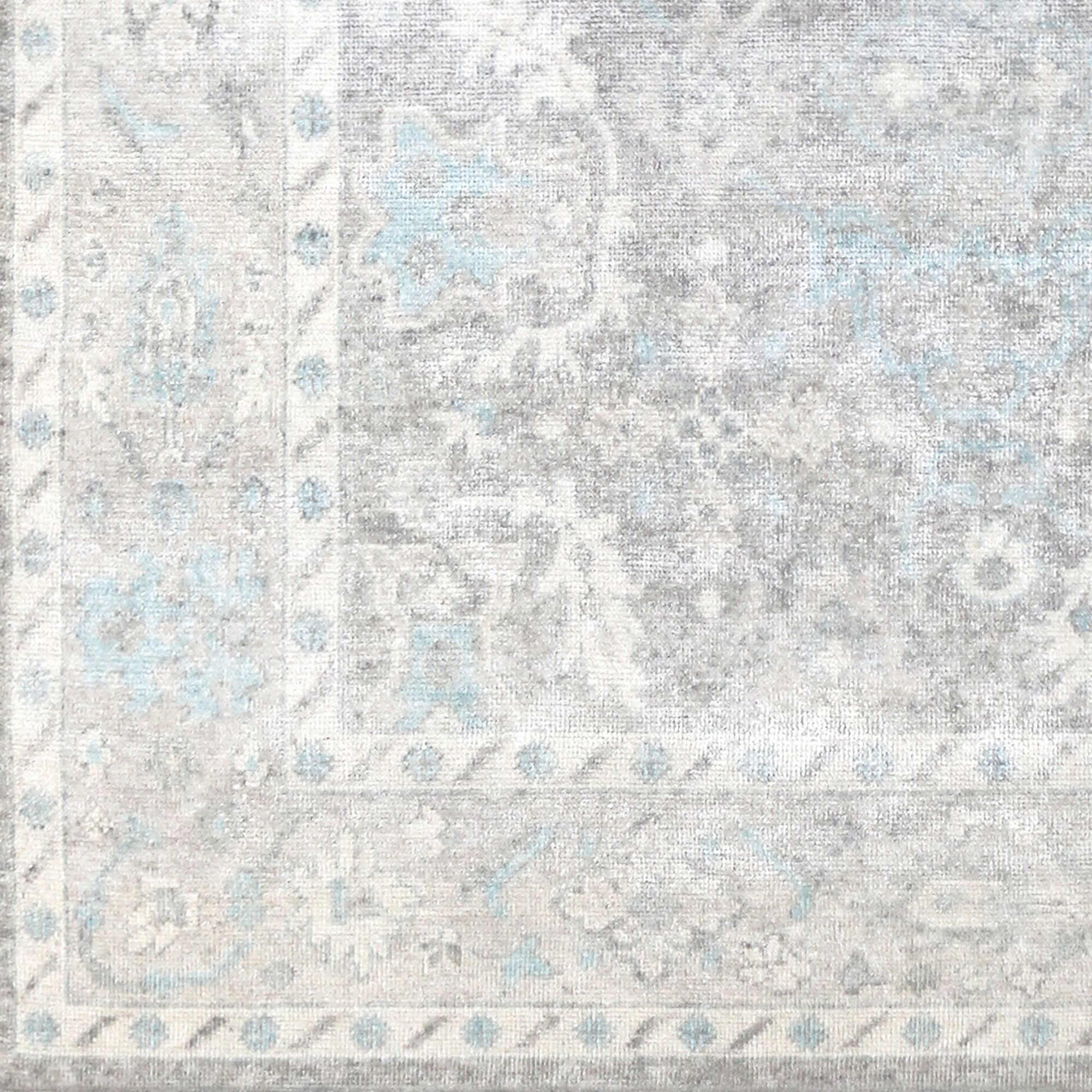 Gerhardina Vintage Floral Hand Knotted Light Gray Area Rug Rug Size: Rectangle 9' x 12'