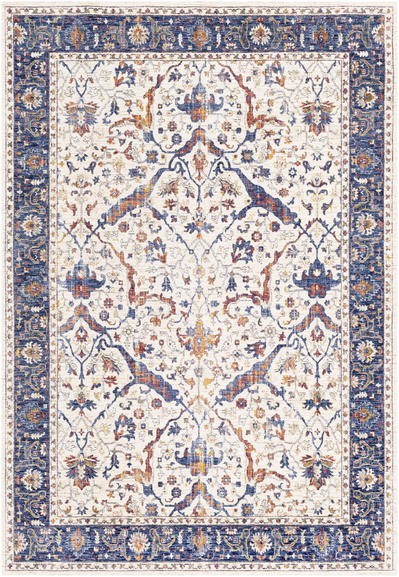 Richmond West Vintage Floral Ivory/Blue Area Rug Rug Size: Rectangle 3' x 5'