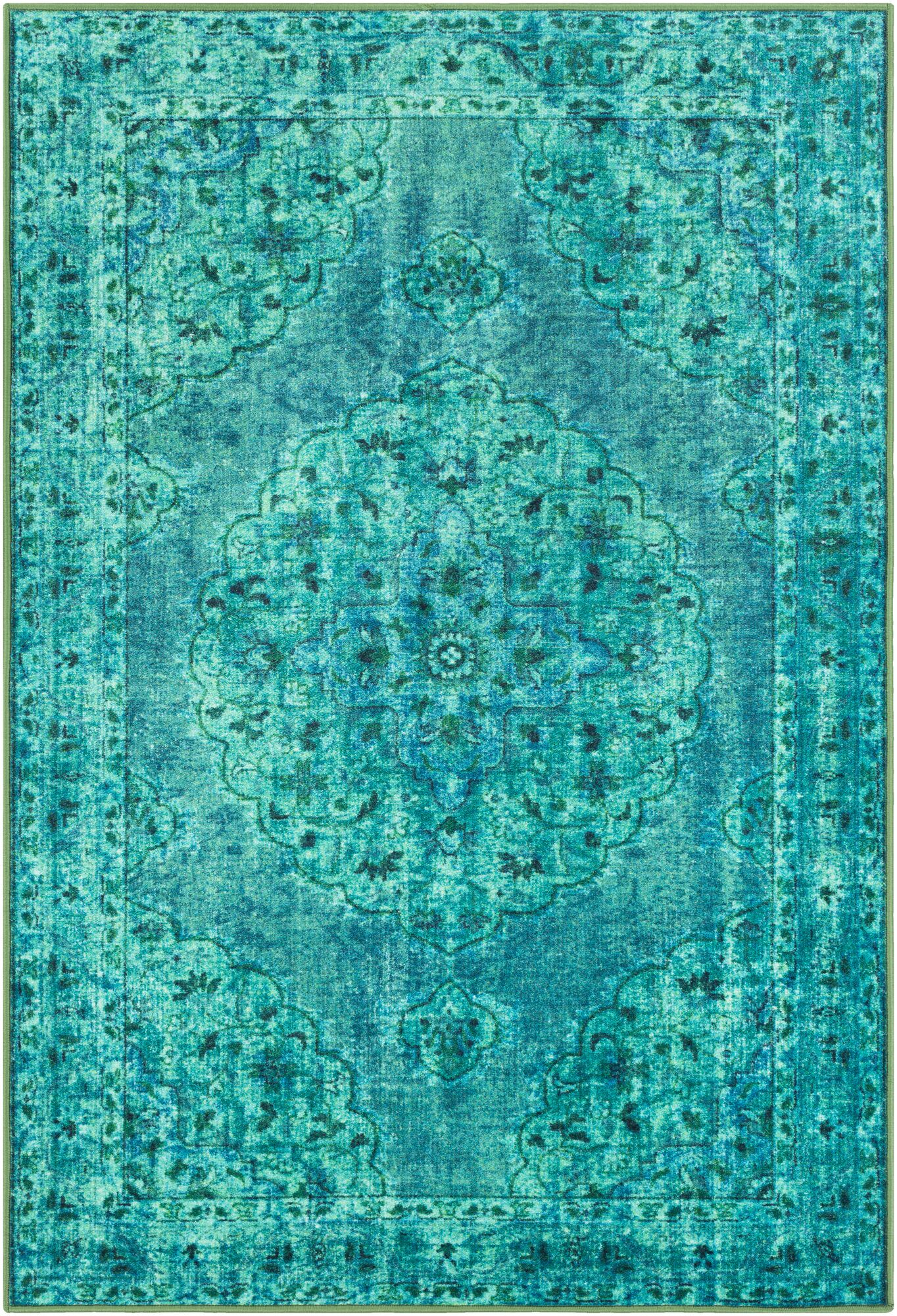 Ryhill Floral Emerald/Dark Green Area Rug Rug Size: Rectangle 2' x 3'