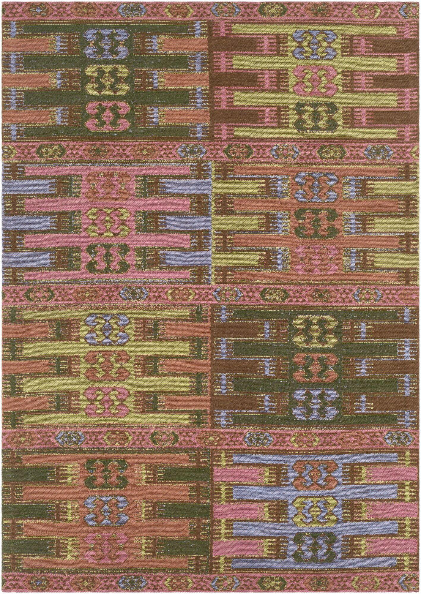 Ridge Manor Hand Woven Blush/Emerald Outdoor Area Rug Rug Size: Rectangle 4' x 6'