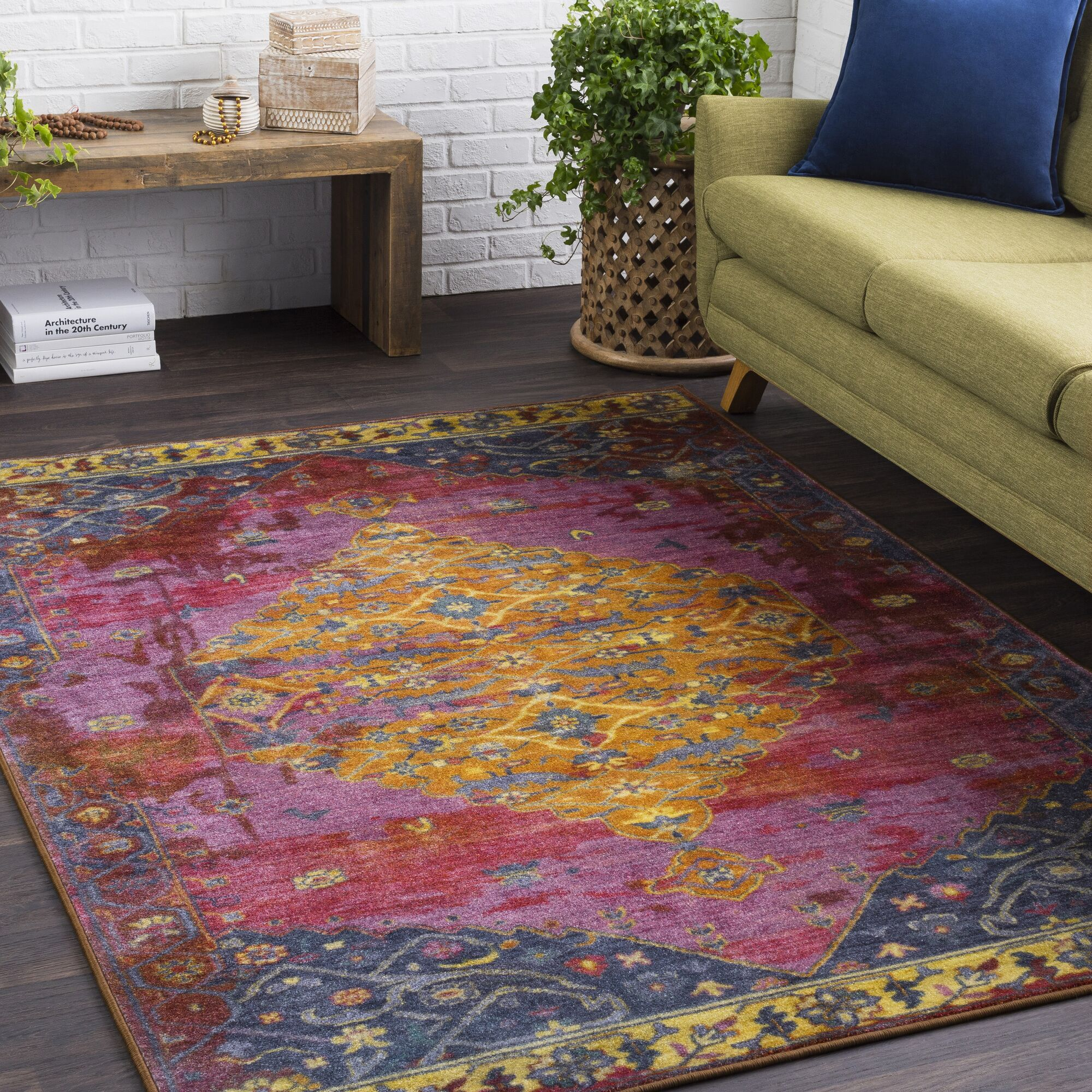 Wyclif Overdyed Floral Lilac/Purple Area Rug Rug Size: Rectangle 7'10