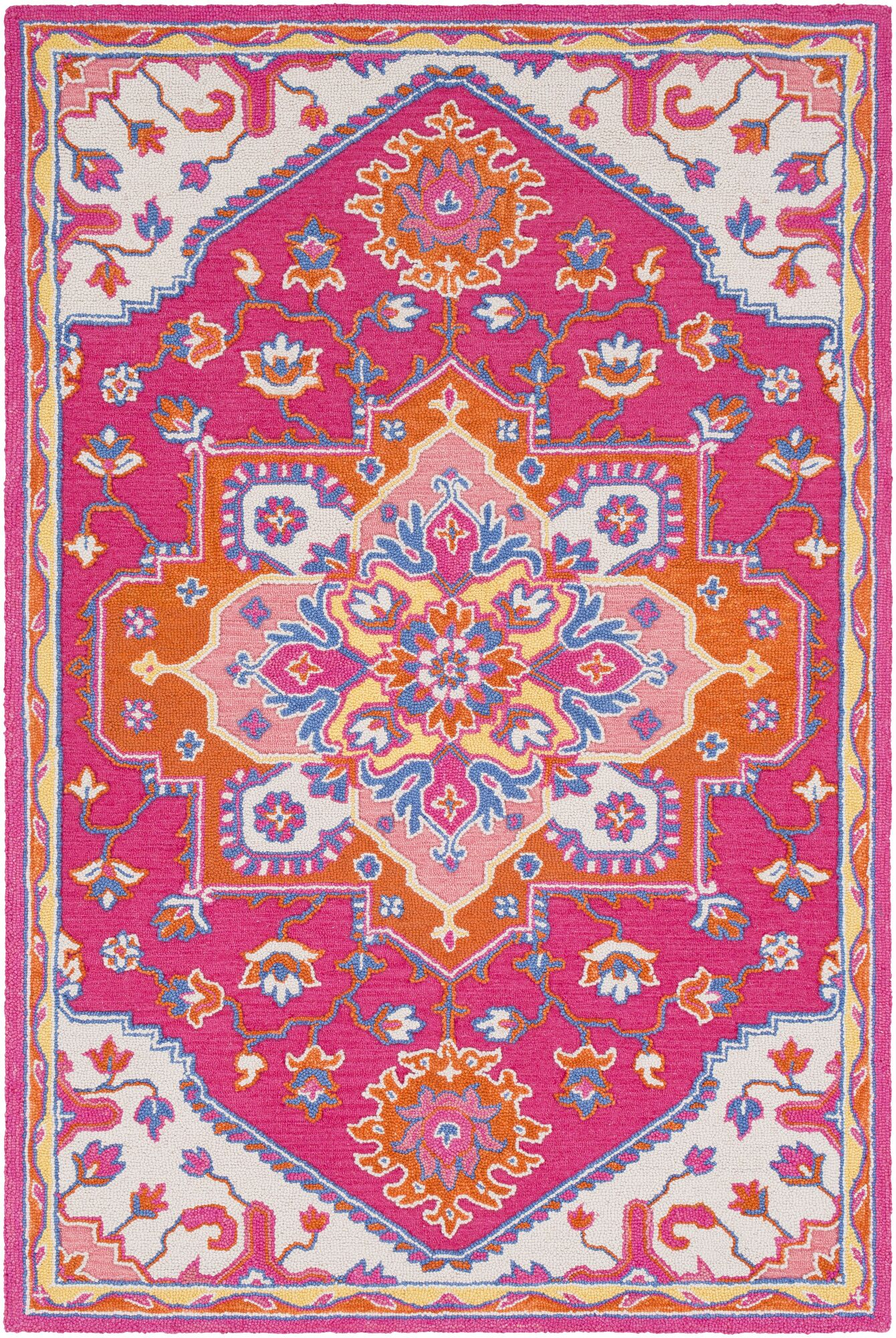 Withams Hand Tufted Wool Bright Pink/Bright Orange Area Rug Rug Size: Rectangle 8' x 10'