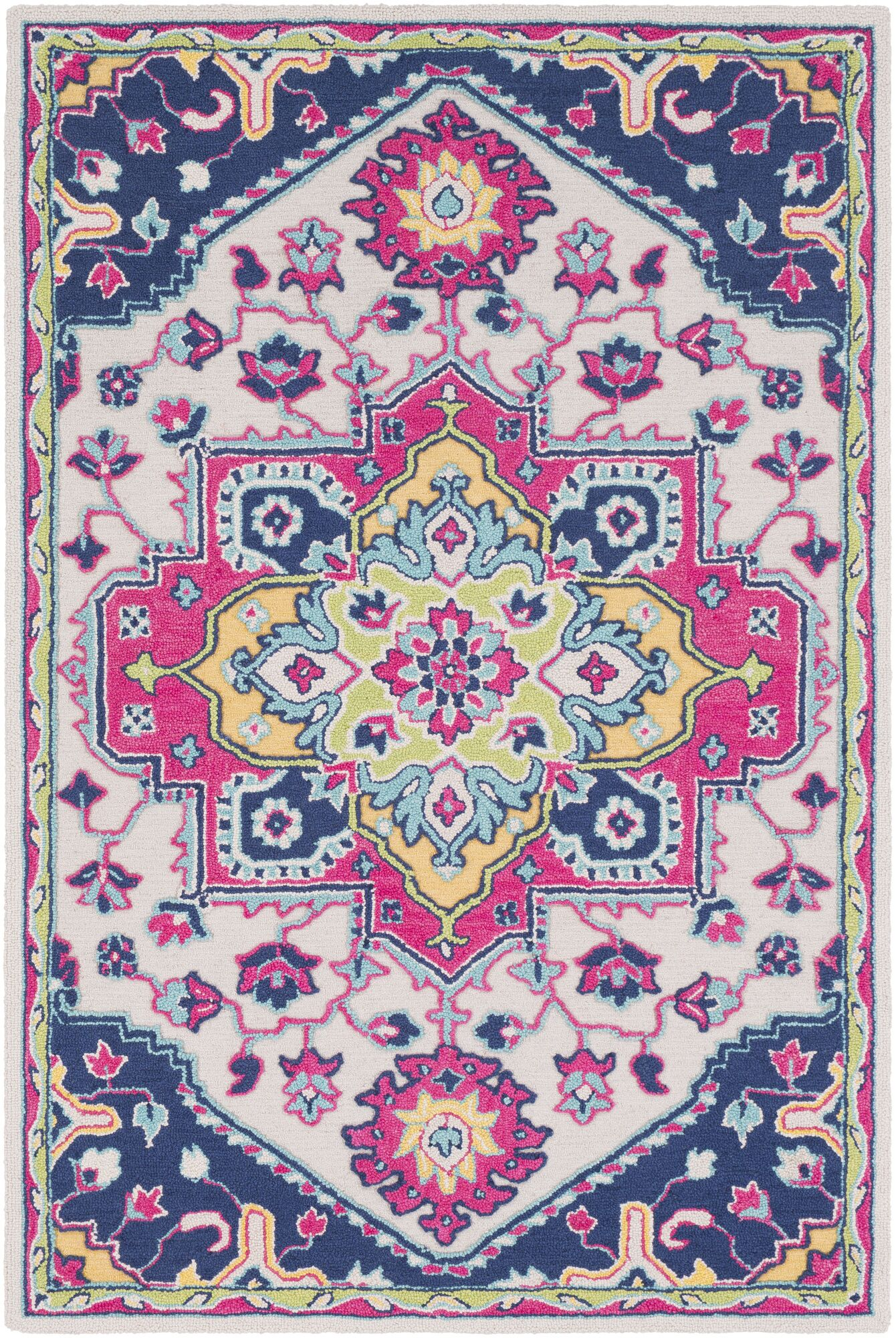 Withams Floral Hand Tufted Wool Bright Pink/Dark Blue Area Rug Rug Size: Rectangle 2' x 3'